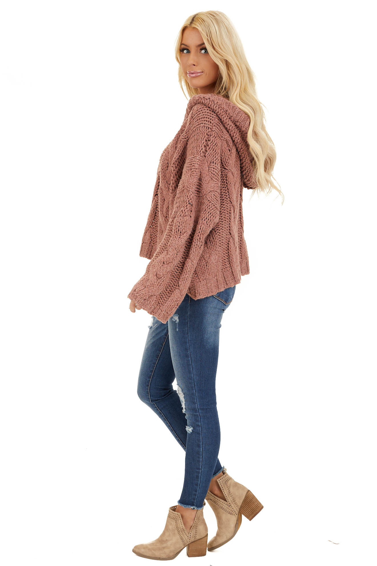 Dusty Pink Oversized Chunky Cable Knit Long Sleeve Hoodie side full body