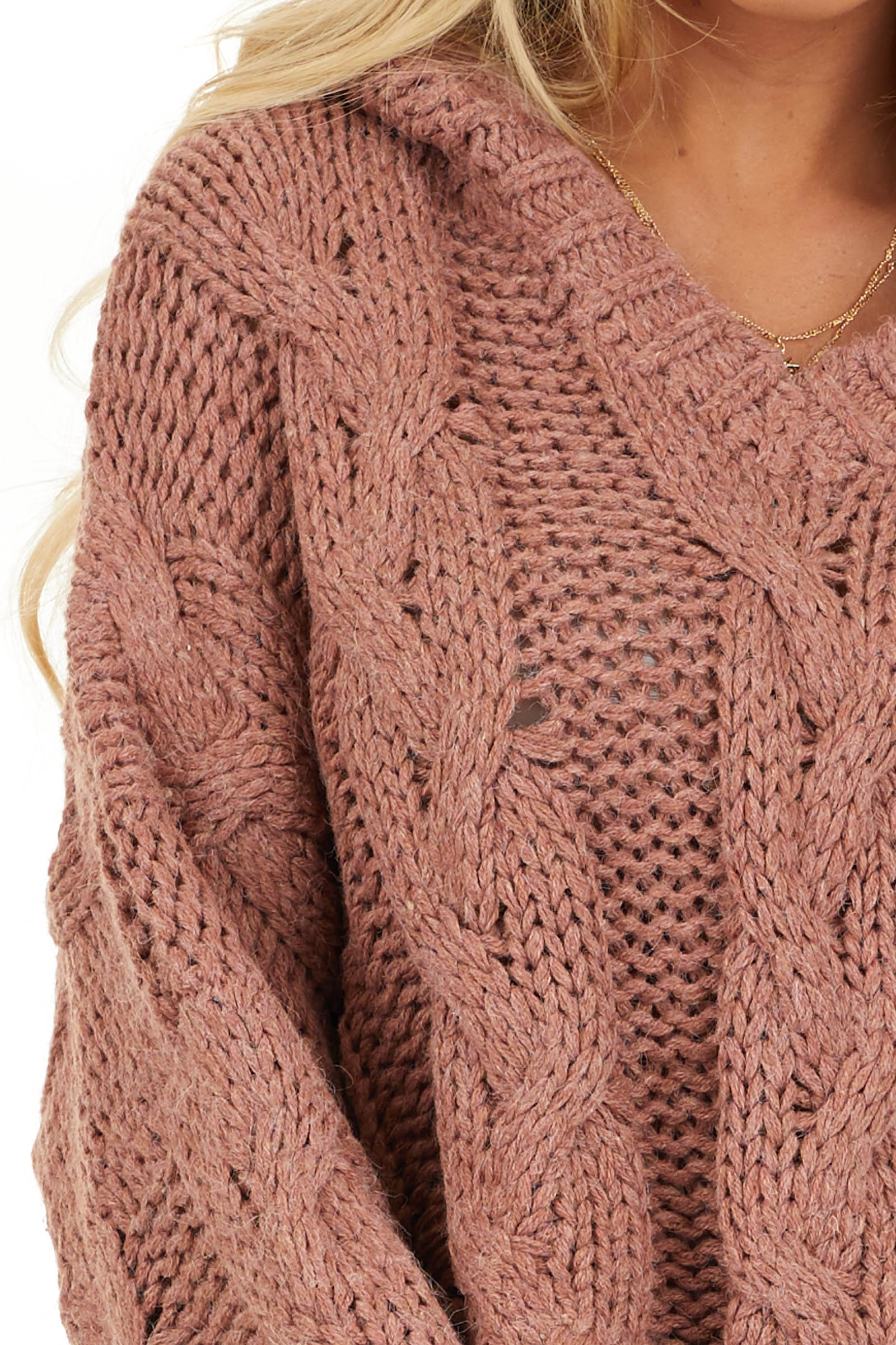 Dusty Pink Oversized Chunky Cable Knit Long Sleeve Hoodie detail