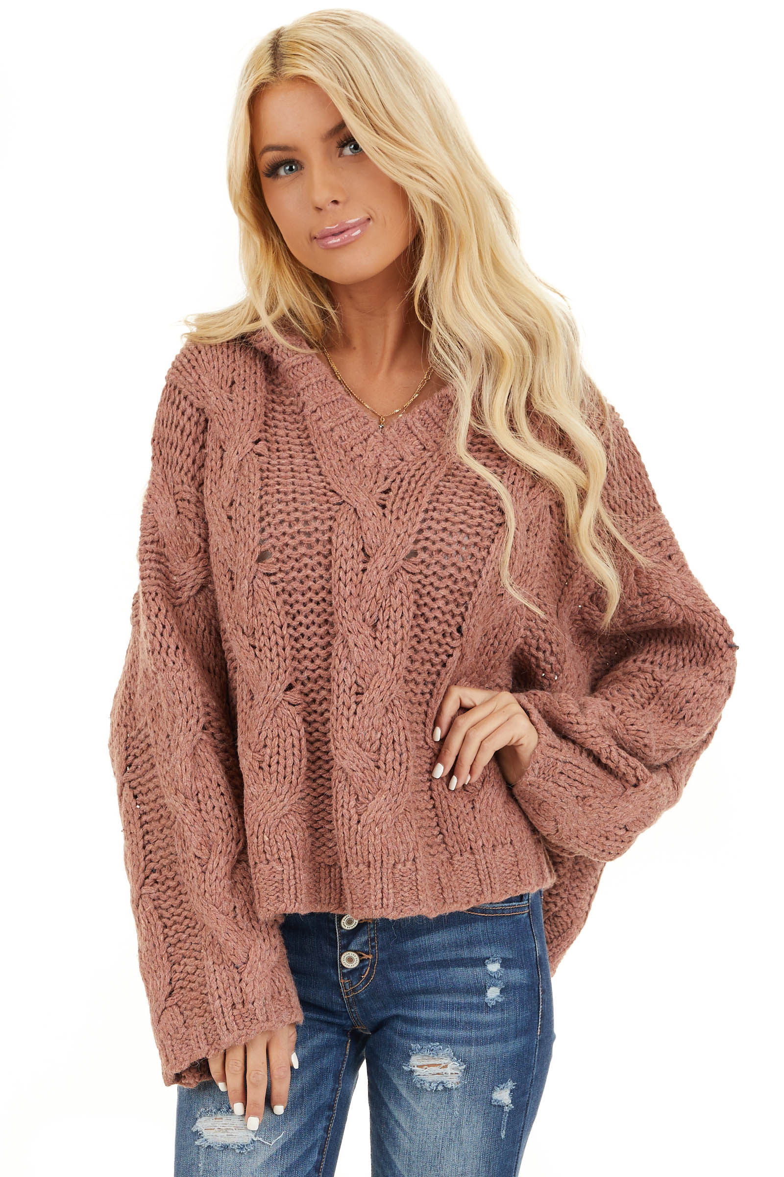 Dusty Pink Oversized Chunky Cable Knit Long Sleeve Hoodie front close up