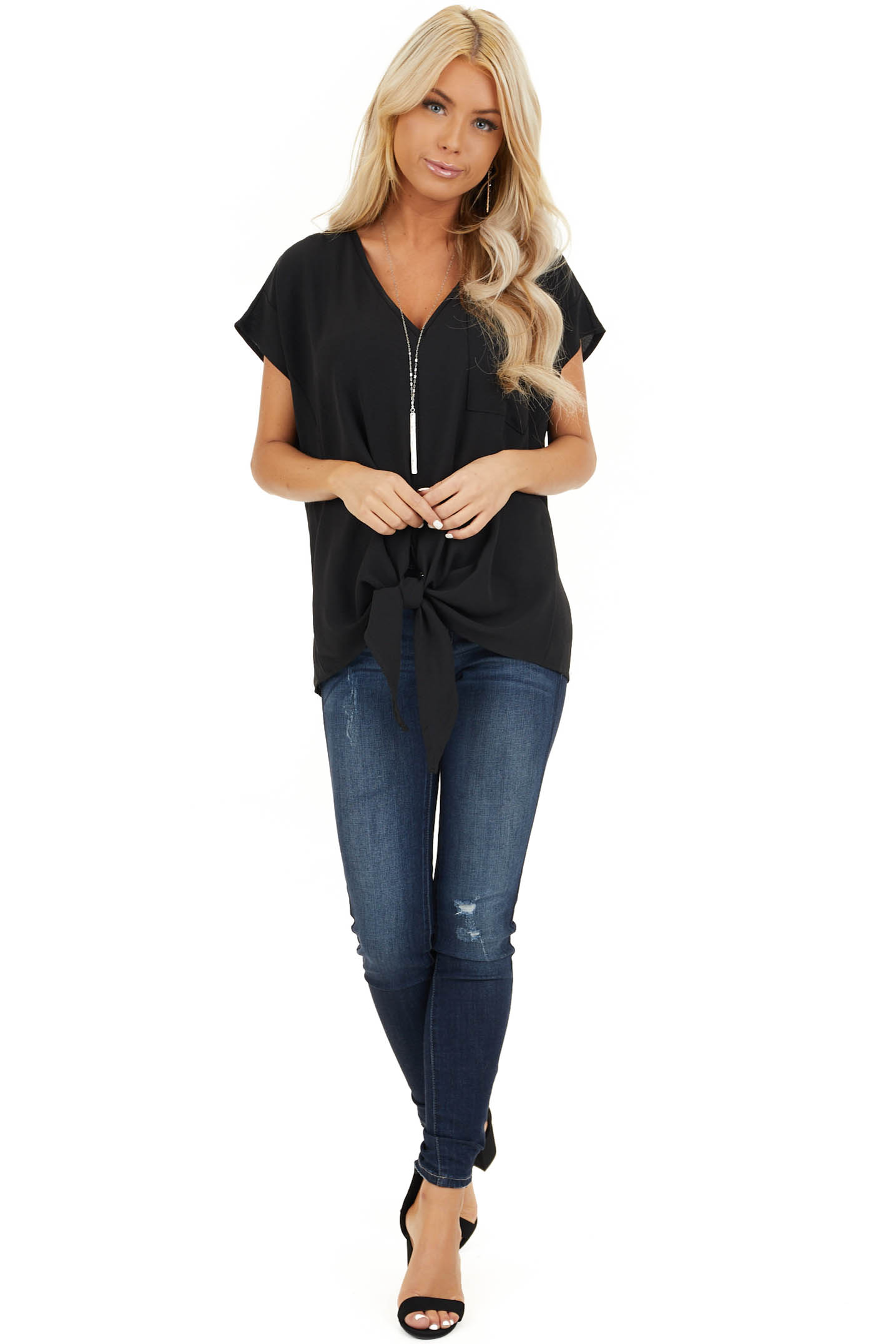 Black Short Sleeve Top with Front Pocket and Self Tie front full body