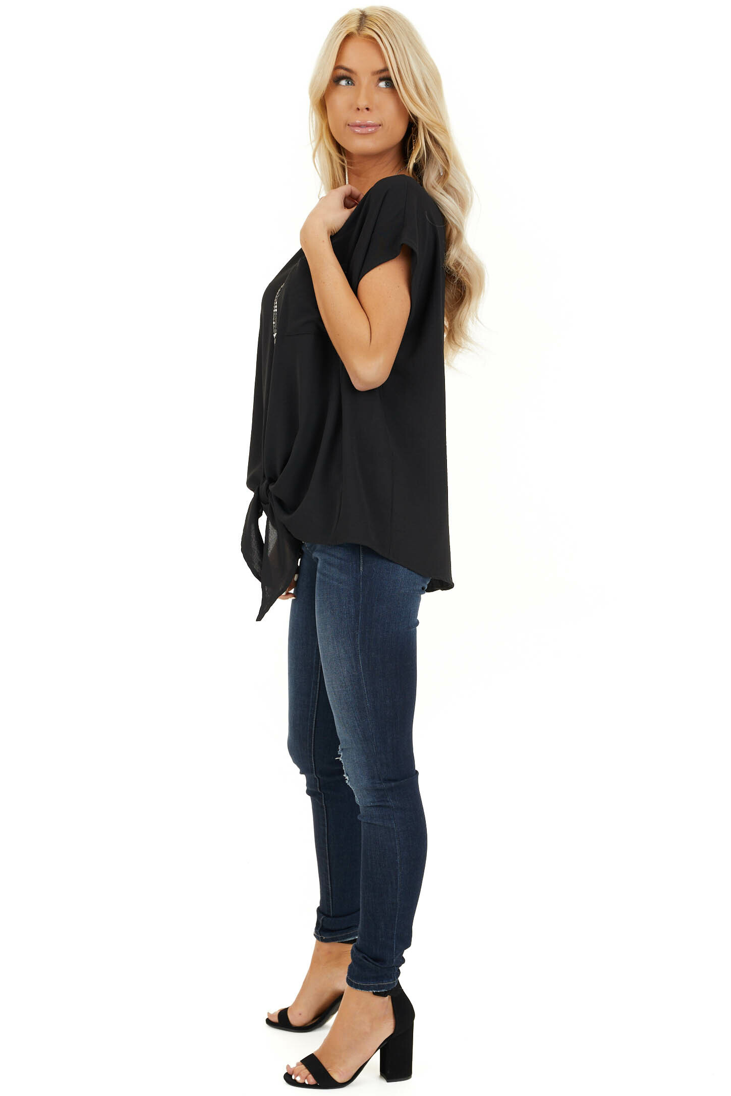 Black Short Sleeve Top with Front Pocket and Self Tie side full body