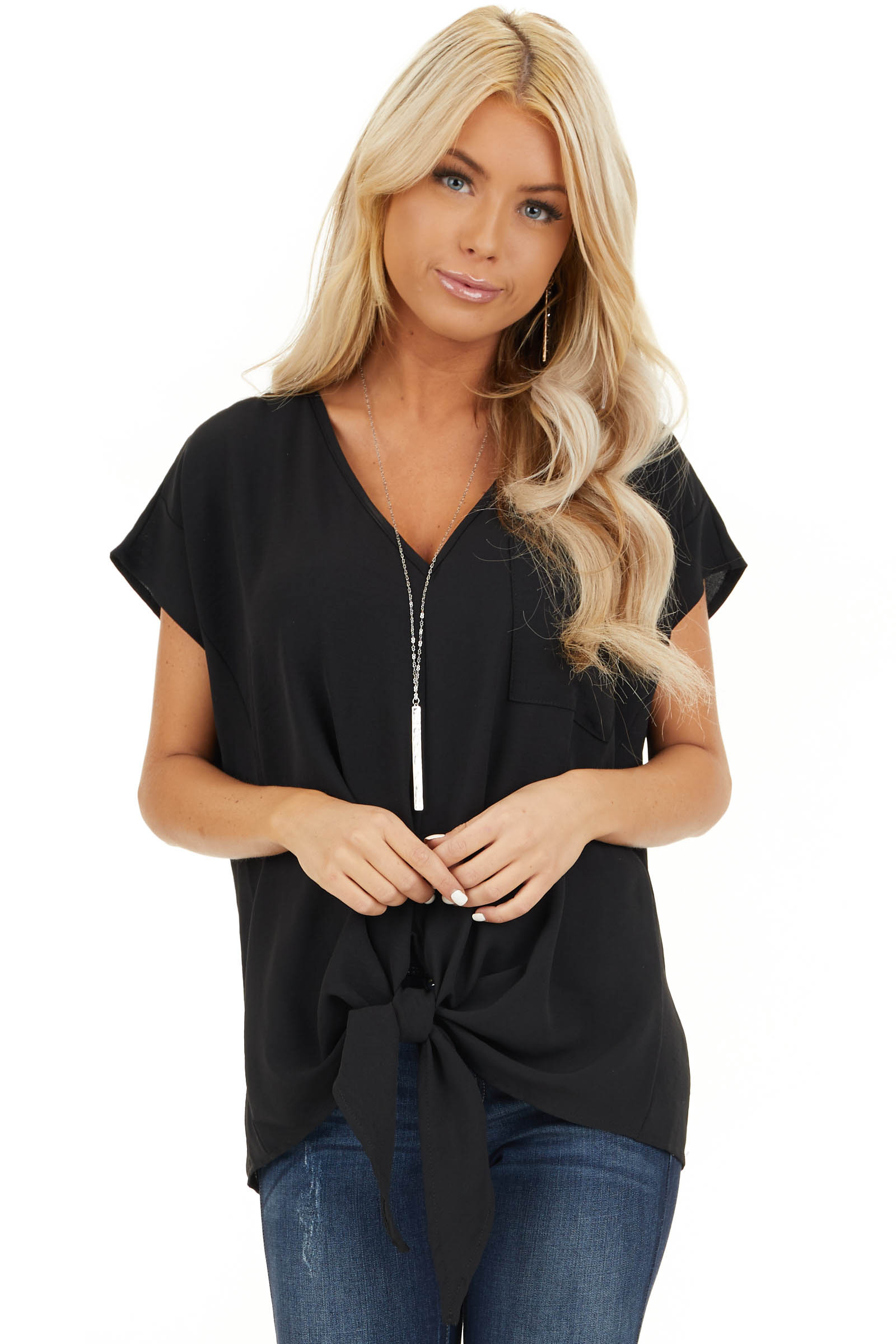 Black Short Sleeve Top with Front Pocket and Self Tie front close up