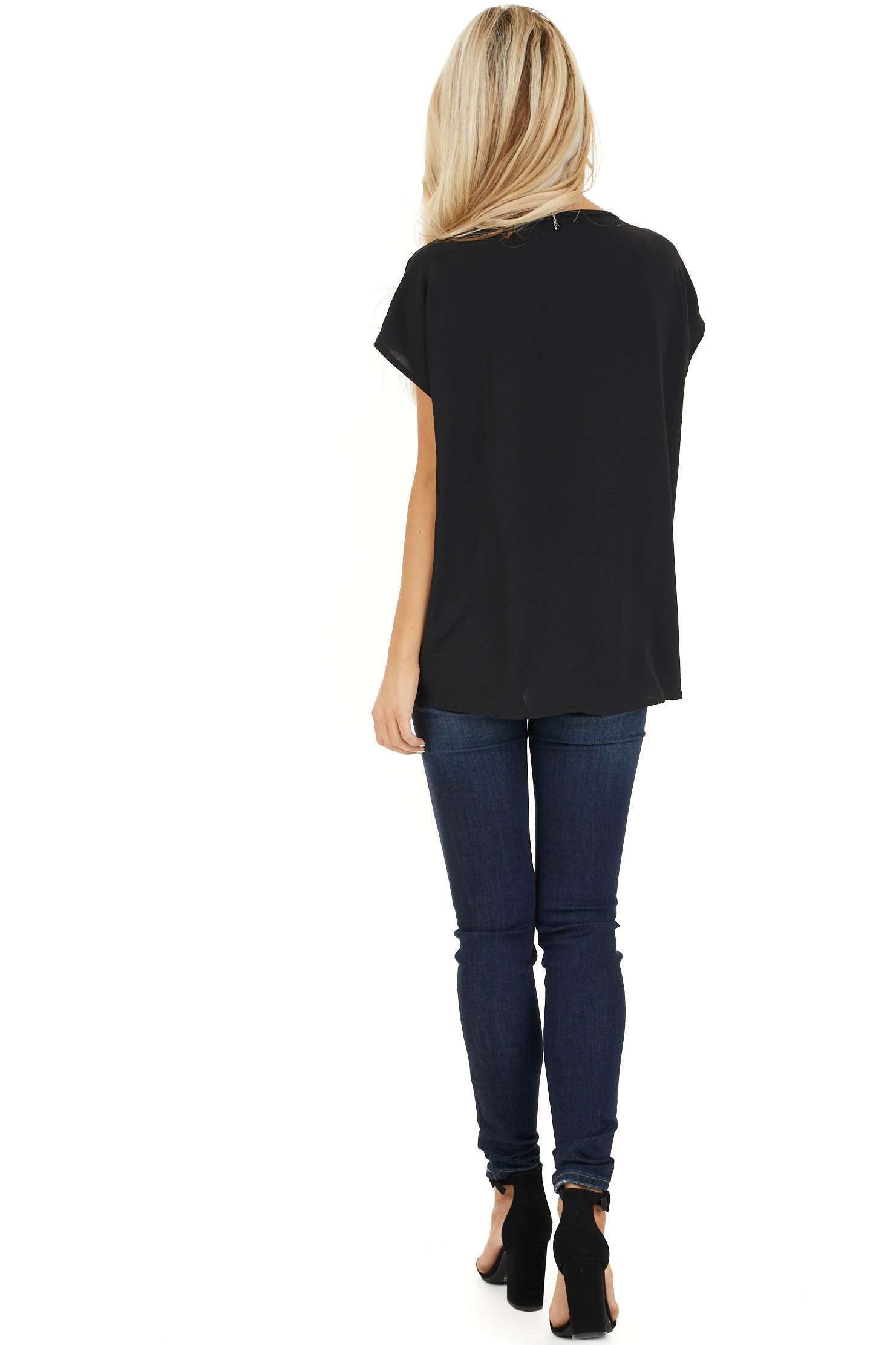 Black Short Sleeve Top with Front Pocket and Self Tie back full body