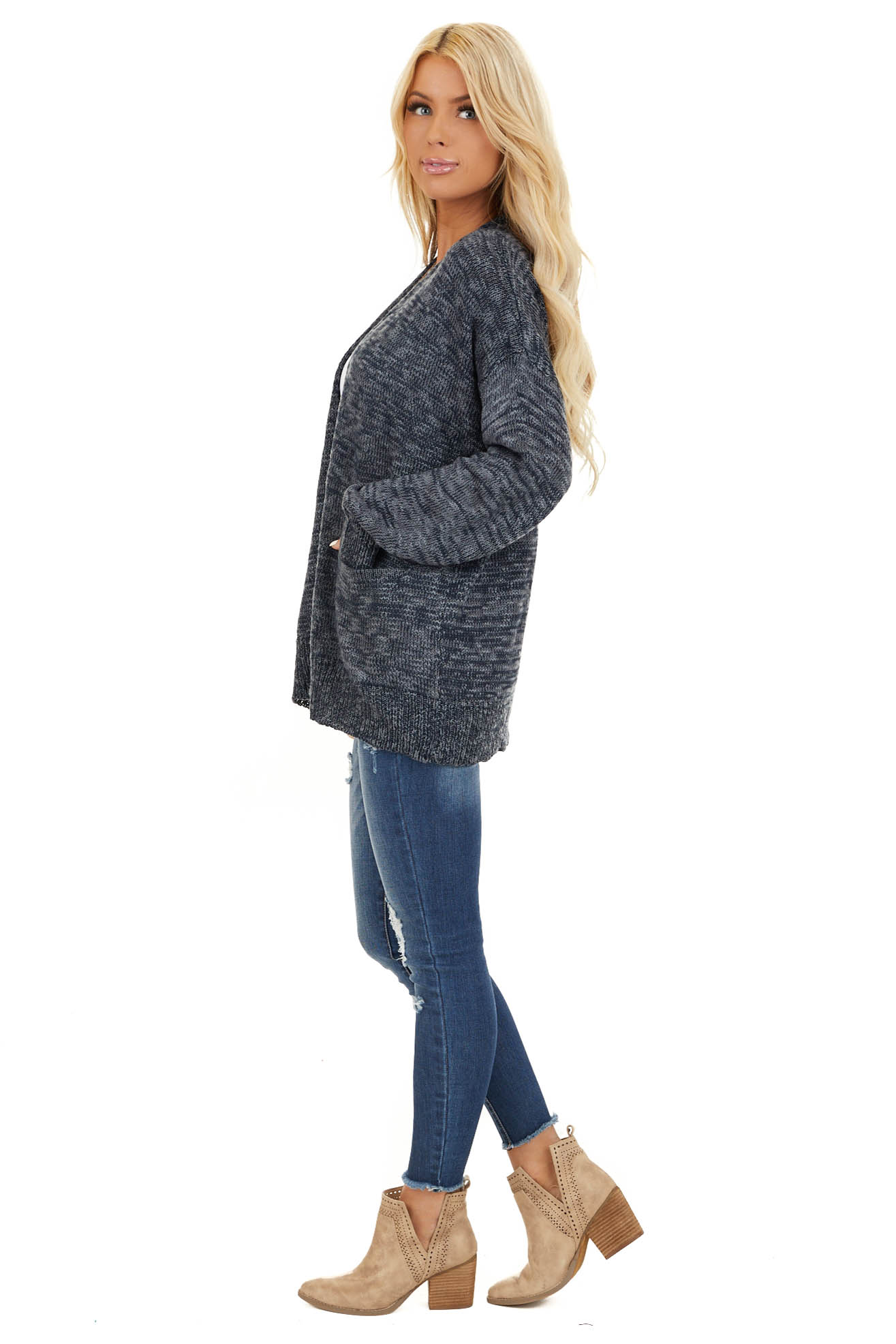 Deep Navy Two Tone Open Front Cardigan with Pockets side full body