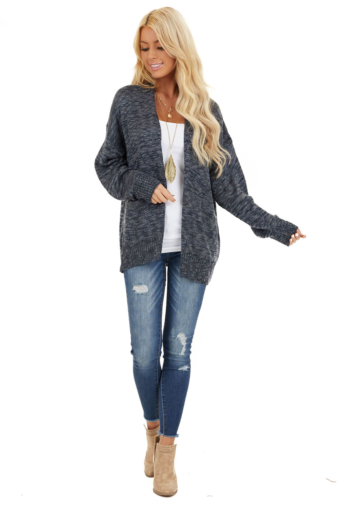 Deep Navy Two Tone Open Front Cardigan with Pockets front full body