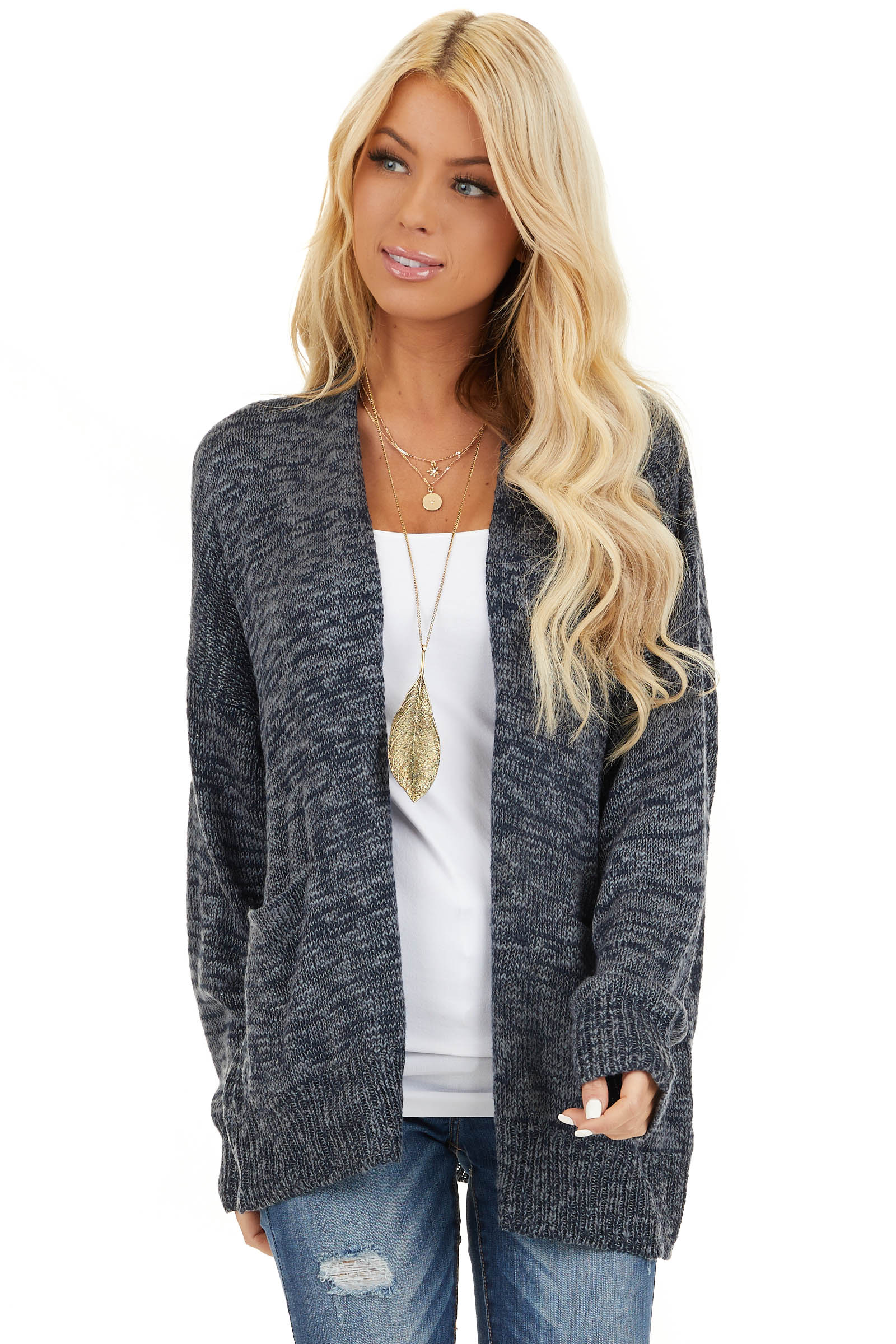 Deep Navy Two Tone Open Front Cardigan with Pockets front close up