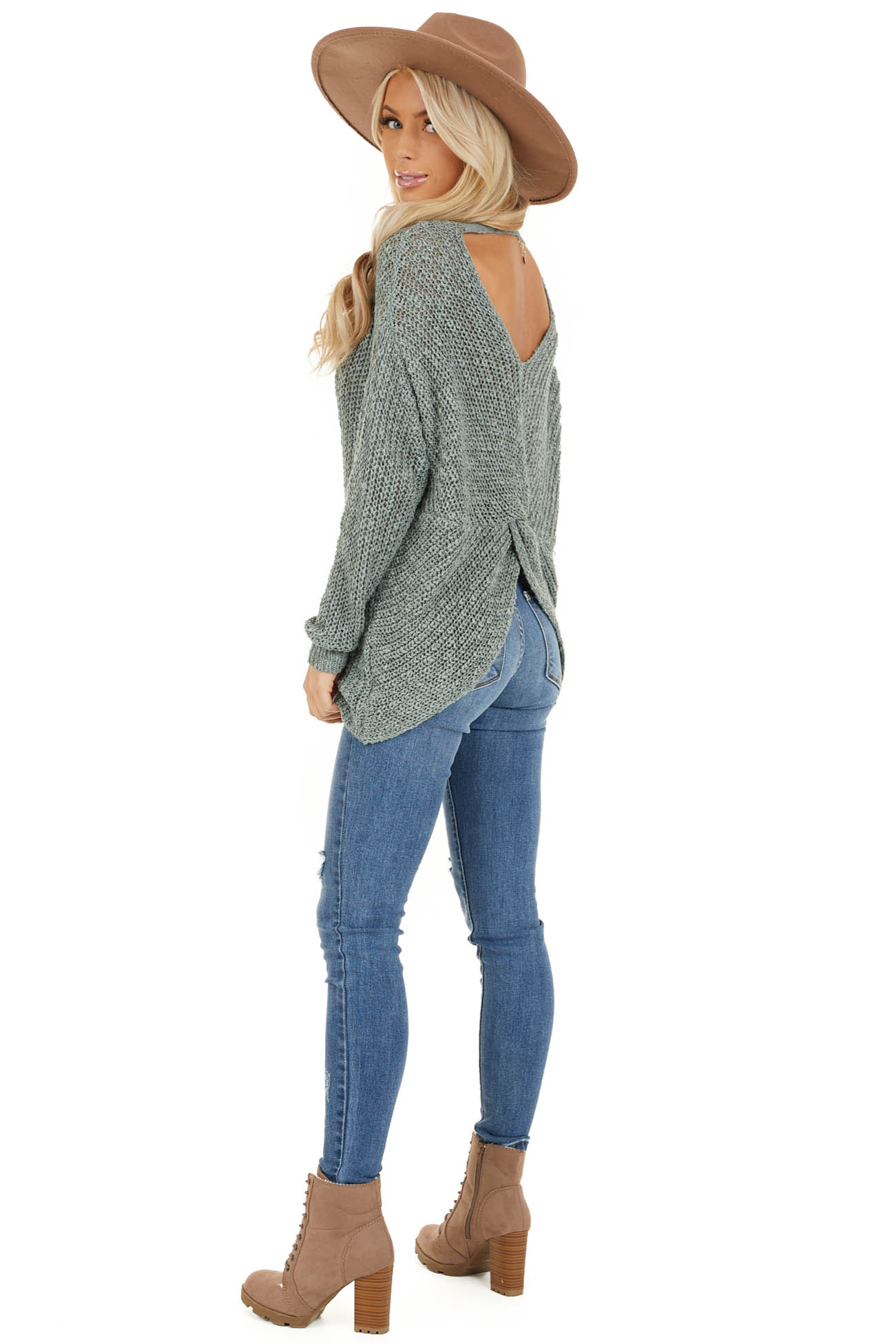 Dusty Sage Long Sleeve Sweater with Back Twist and Cutout side full body