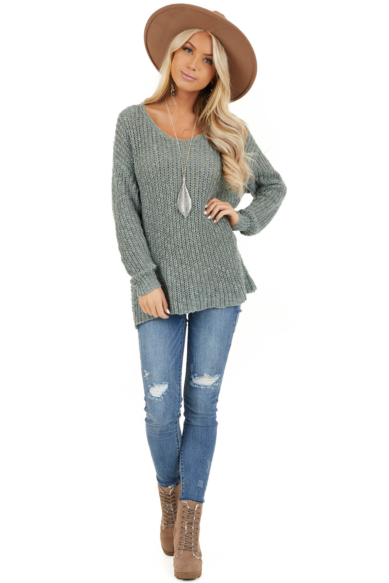 Dusty Sage Long Sleeve Sweater with Back Twist and Cutout front full body