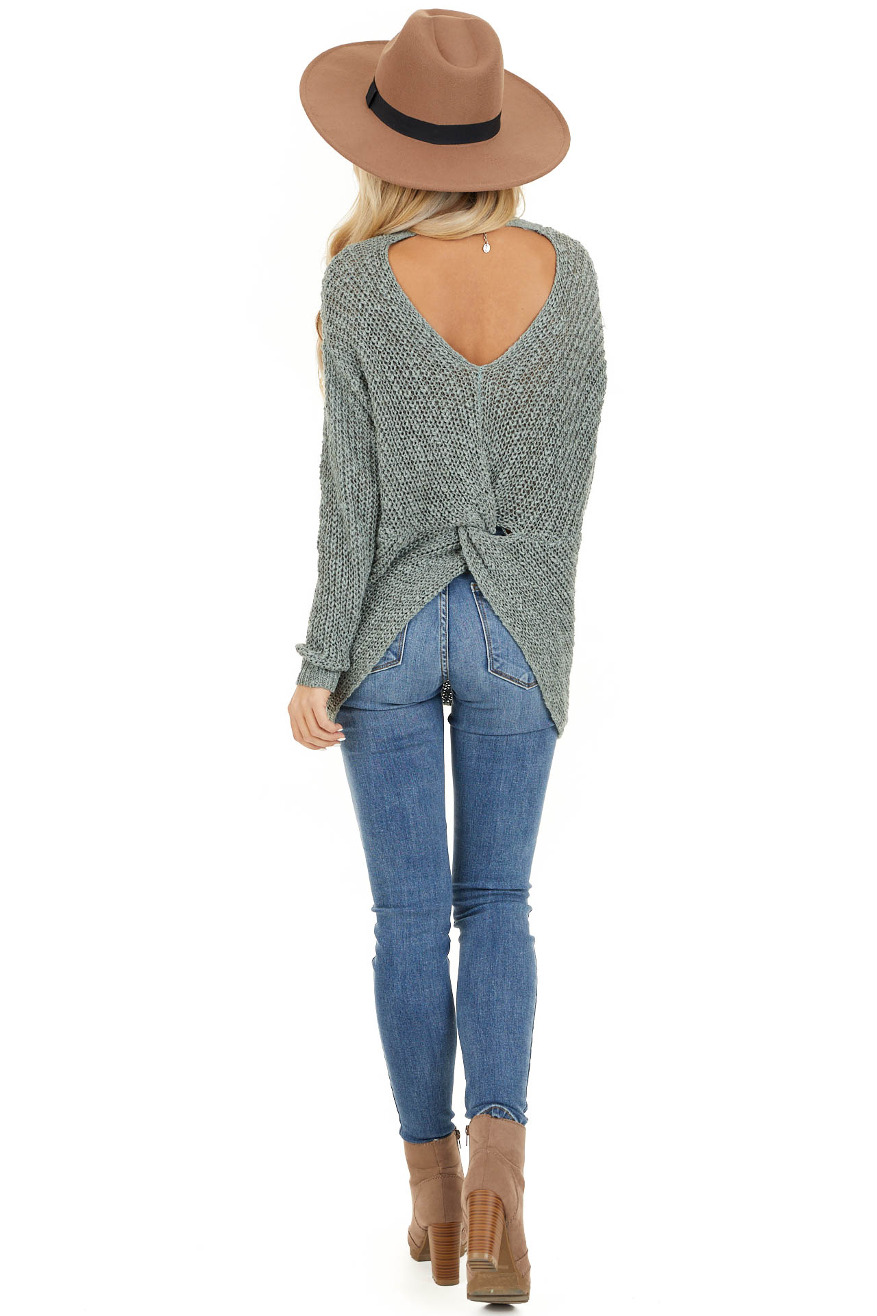 Dusty Sage Long Sleeve Sweater with Back Twist and Cutout back full body
