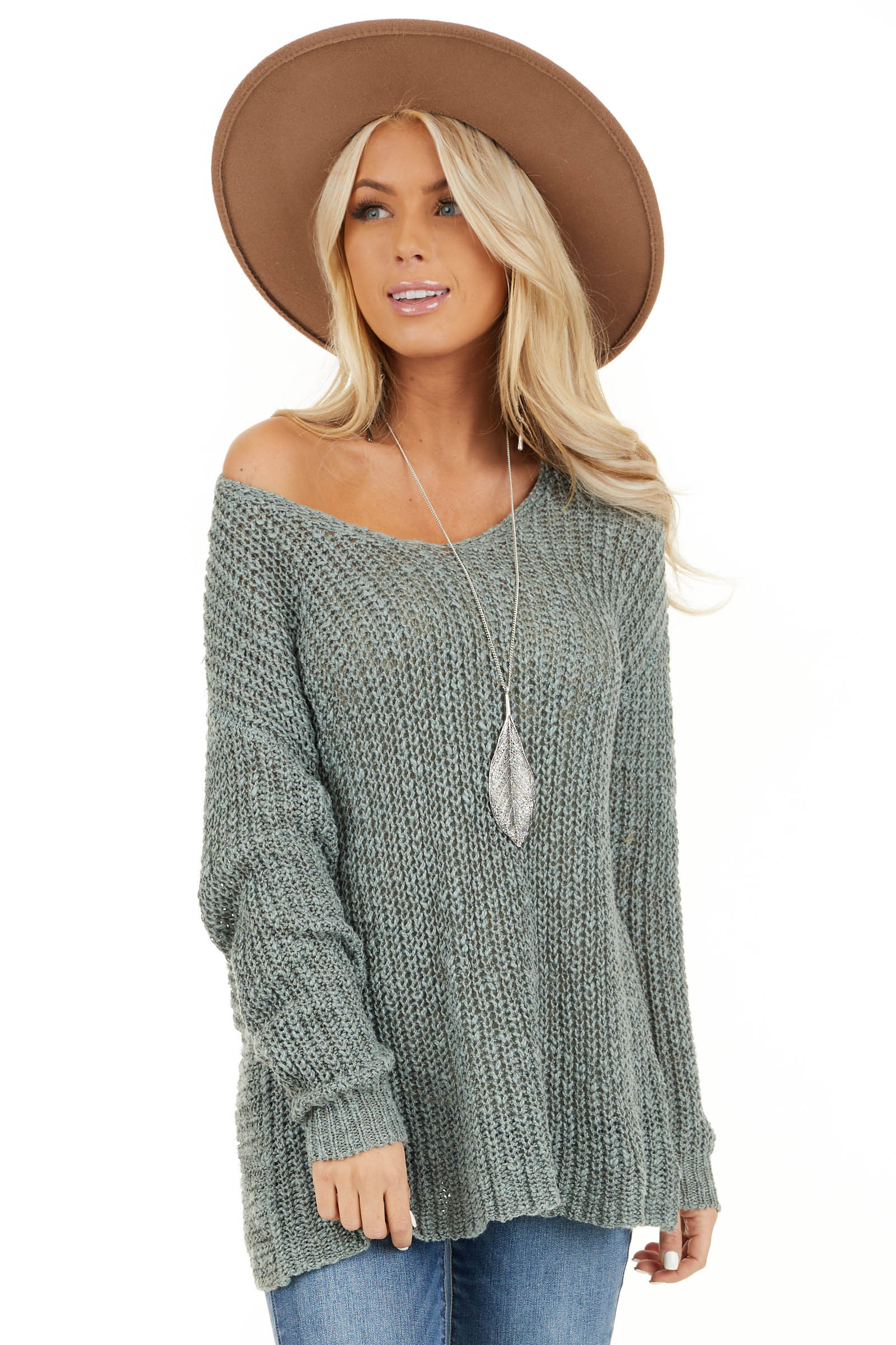 Dusty Sage Long Sleeve Sweater with Back Twist and Cutout front close up