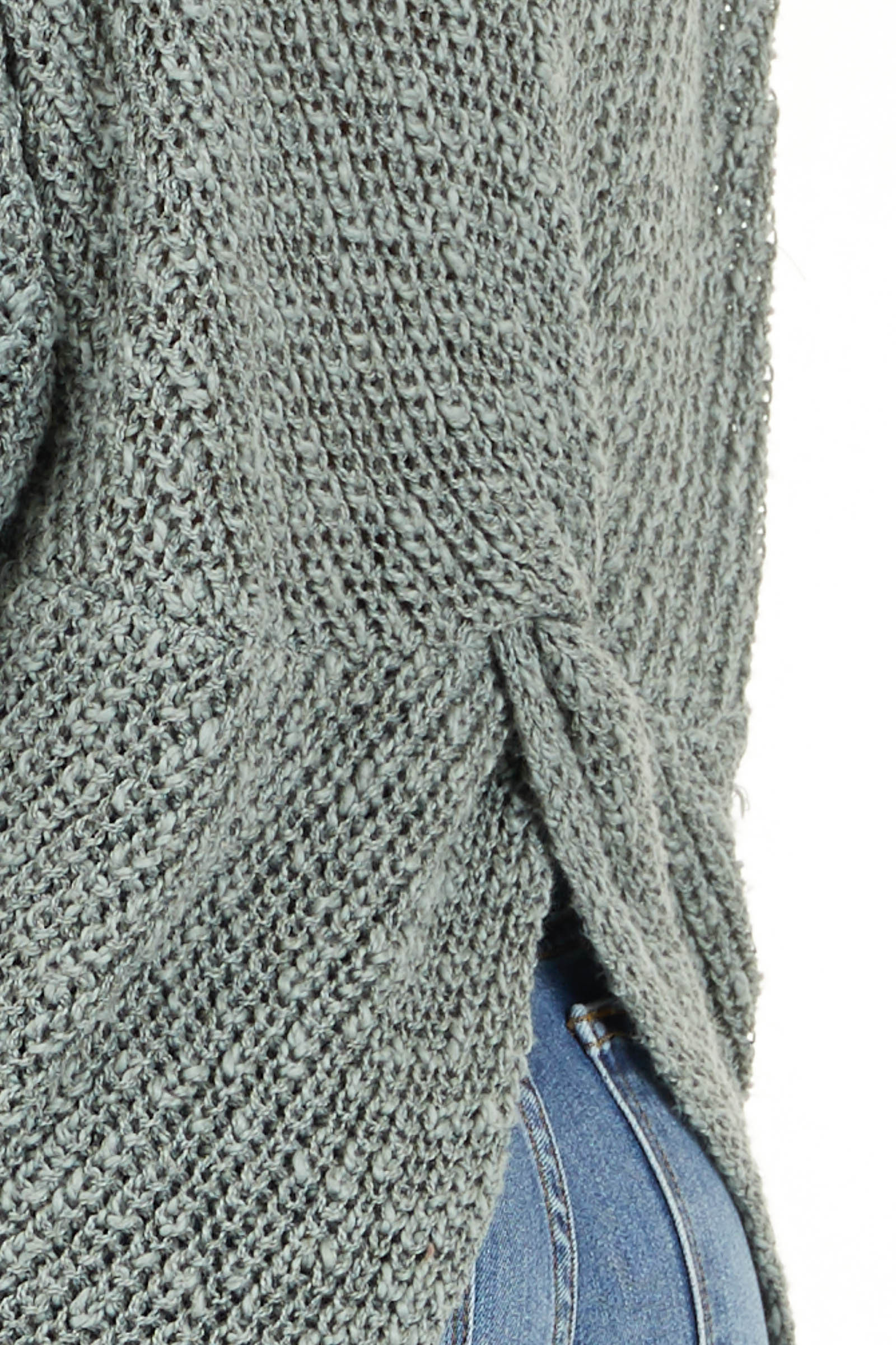 Dusty Sage Long Sleeve Sweater with Back Twist and Cutout detail