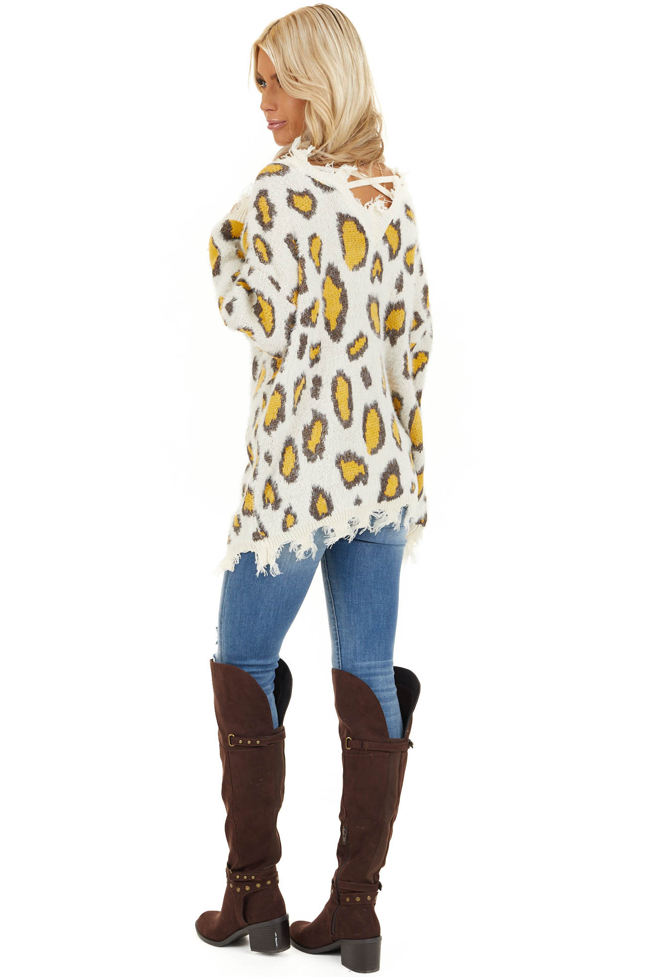 Ivory and Mustard Animal Print Sweater with Frayed Details side full body