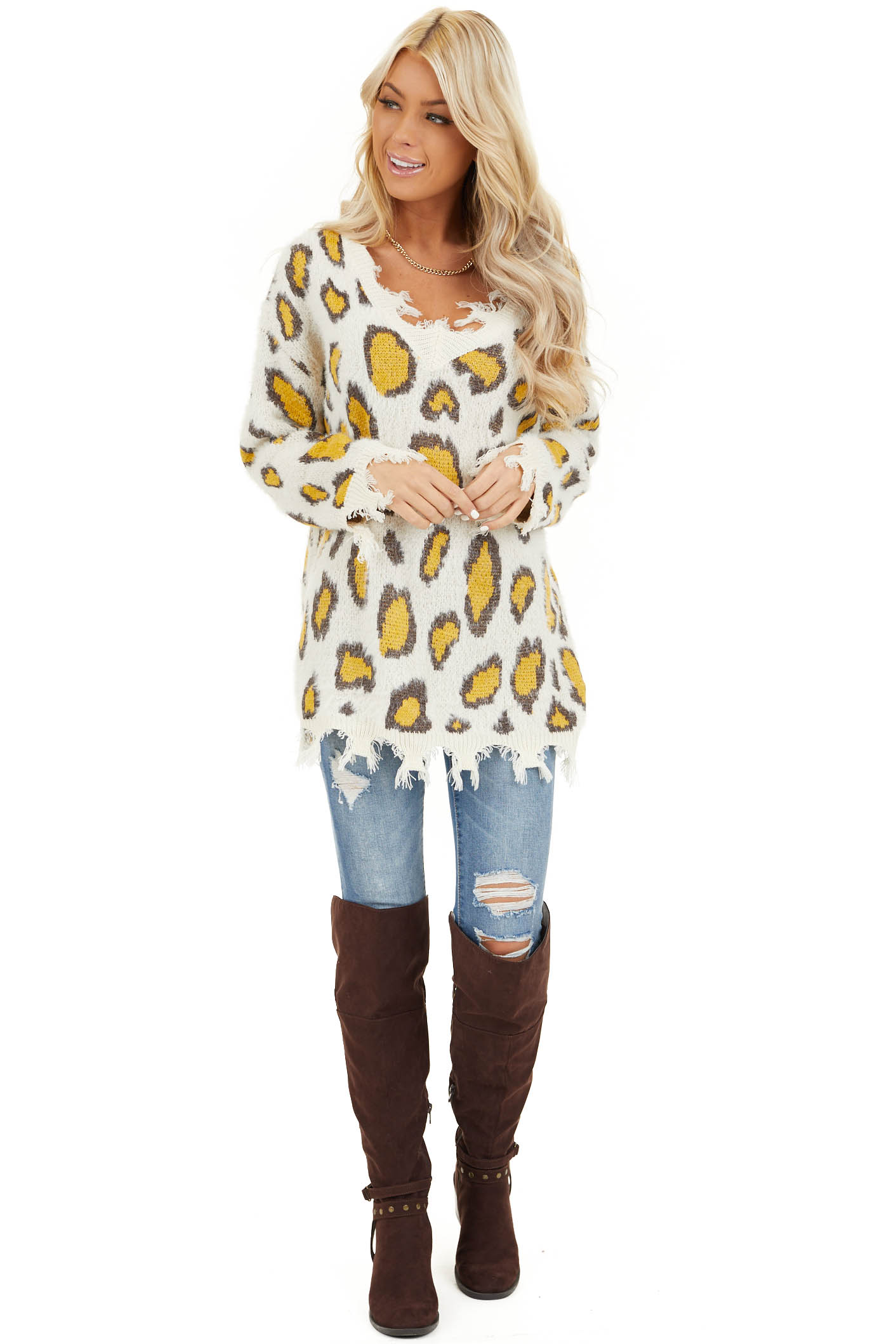 Ivory and Mustard Animal Print Sweater with Frayed Details front full body