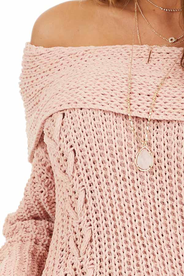 Baby Pink Off Shoulder Chenille Sweater with Long Sleeves detail