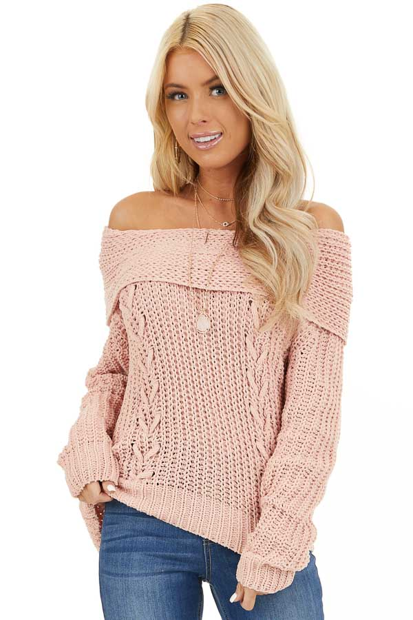 Baby Pink Off Shoulder Chenille Sweater with Long Sleeves front close up