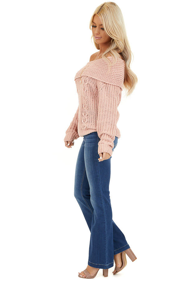 Baby Pink Off Shoulder Chenille Sweater with Long Sleeves side full body