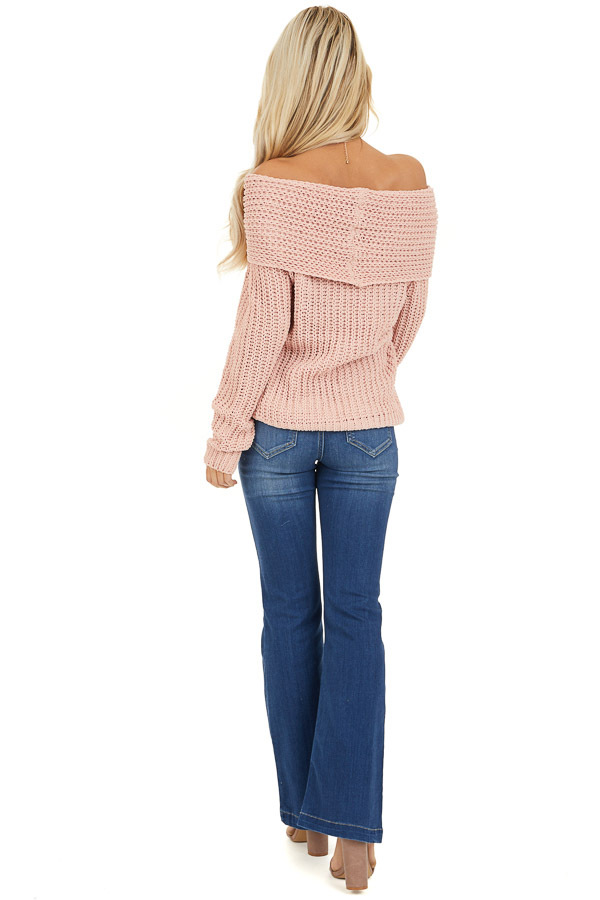 Baby Pink Off Shoulder Chenille Sweater with Long Sleeves back full body