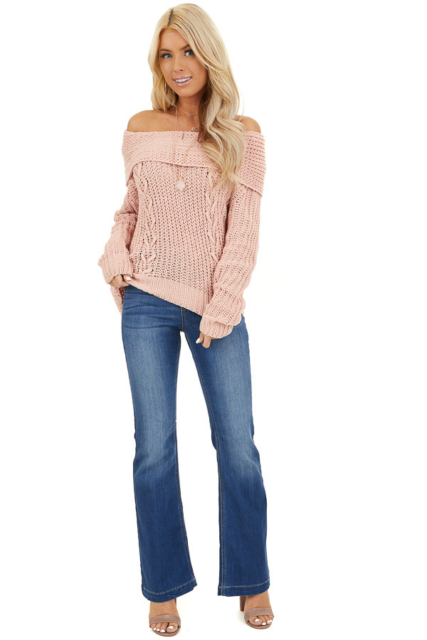 Baby Pink Off Shoulder Chenille Sweater with Long Sleeves front full body
