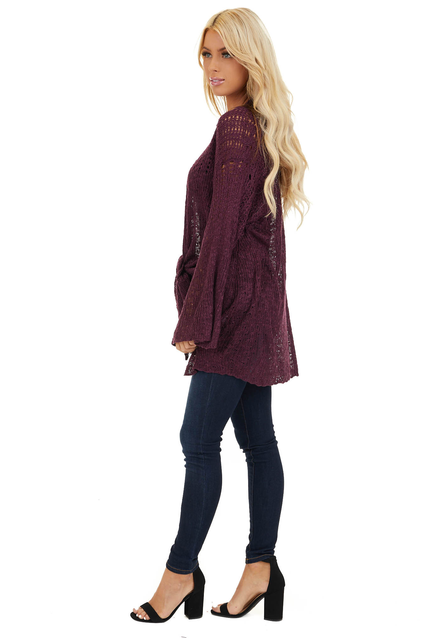 Plum Knit Open Front Cardigan with Long Flare Sleeves side full body