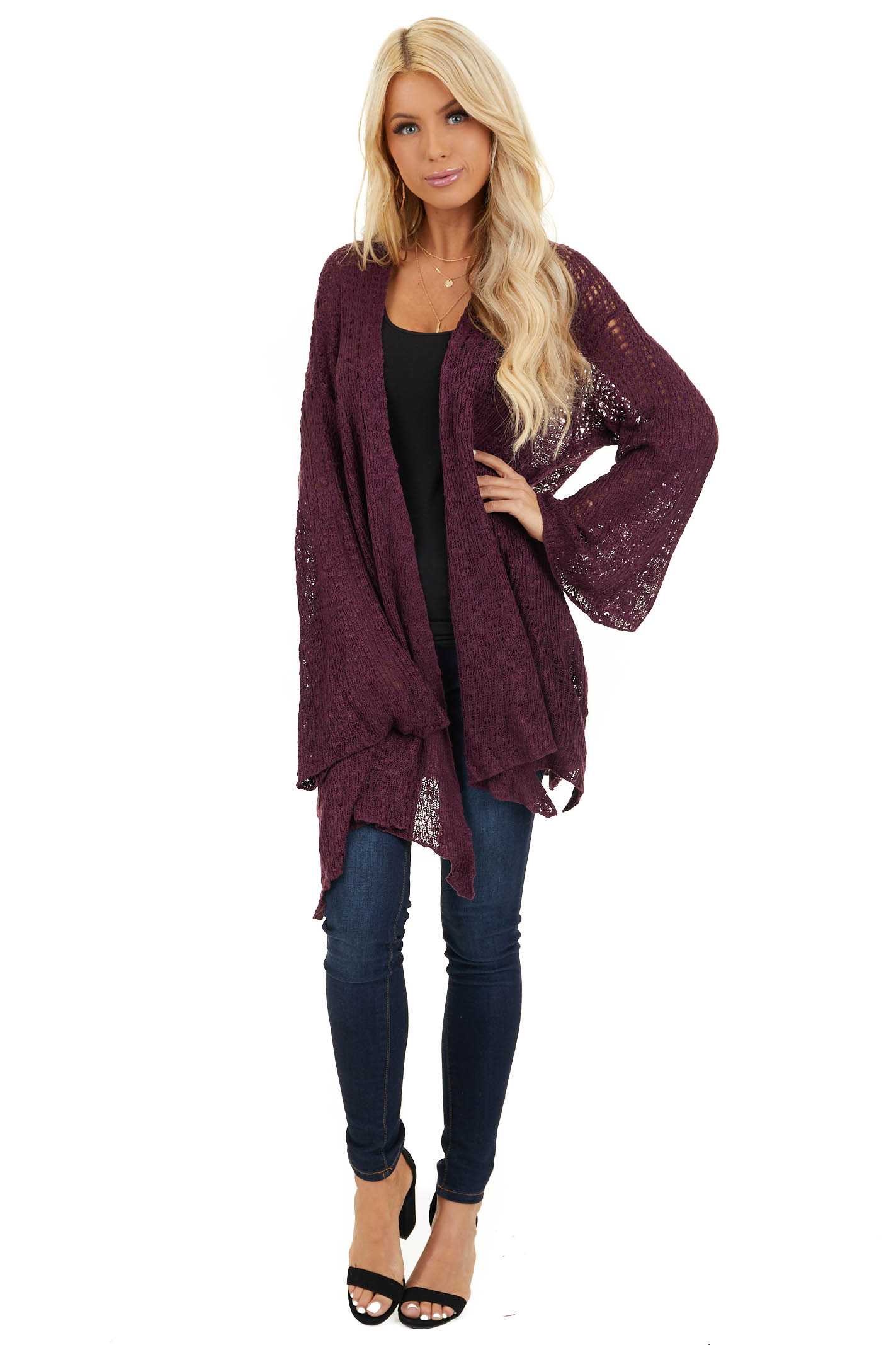 Plum Knit Open Front Cardigan with Long Flare Sleeves front full body
