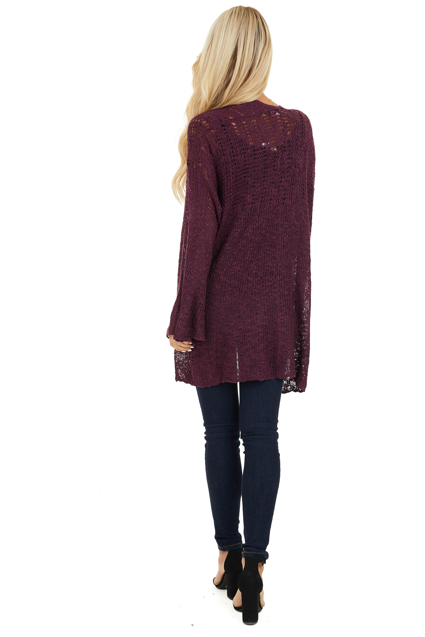 Plum Knit Open Front Cardigan with Long Flare Sleeves back full body