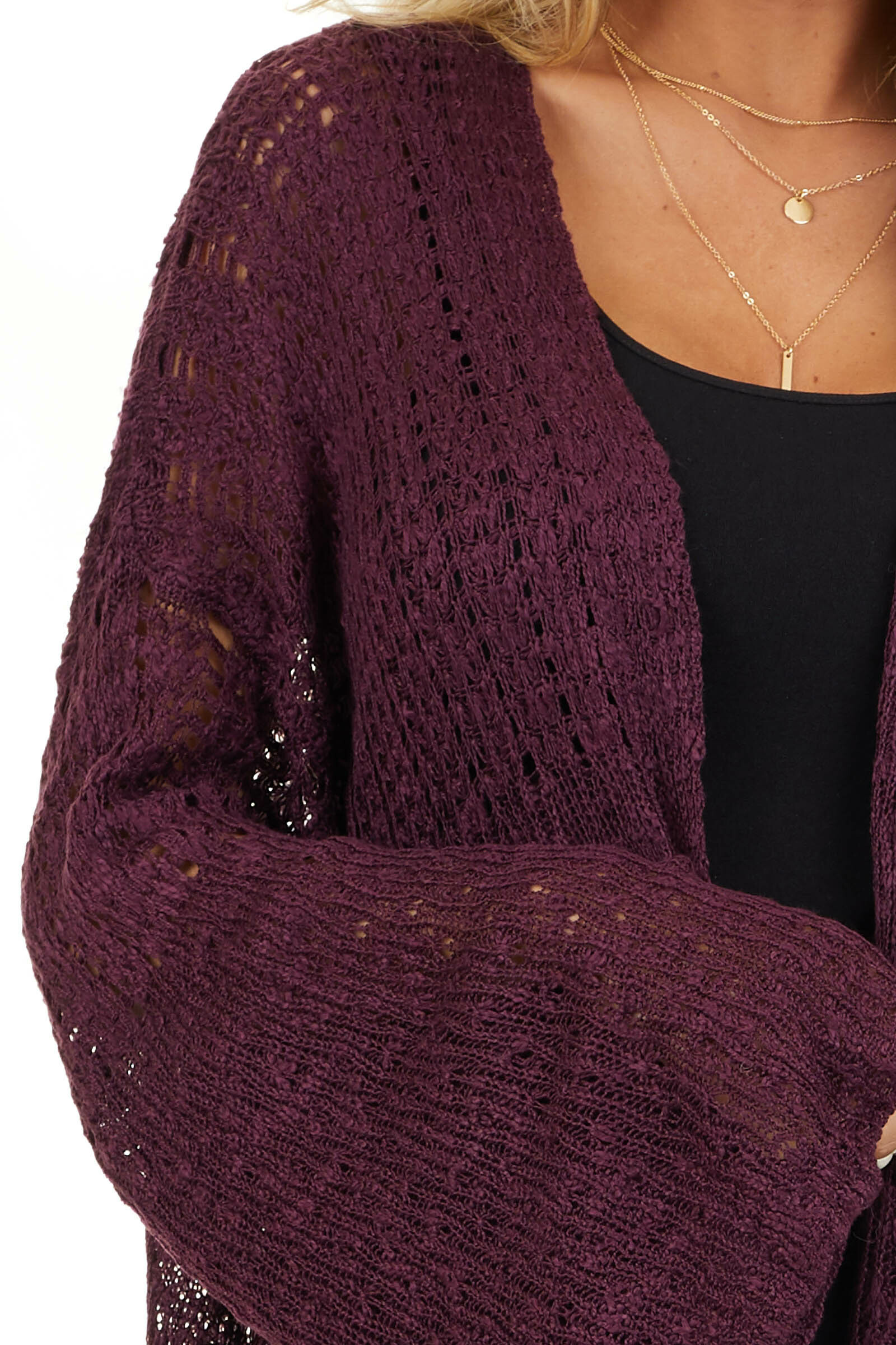 Plum Knit Open Front Cardigan with Long Flare Sleeves detail