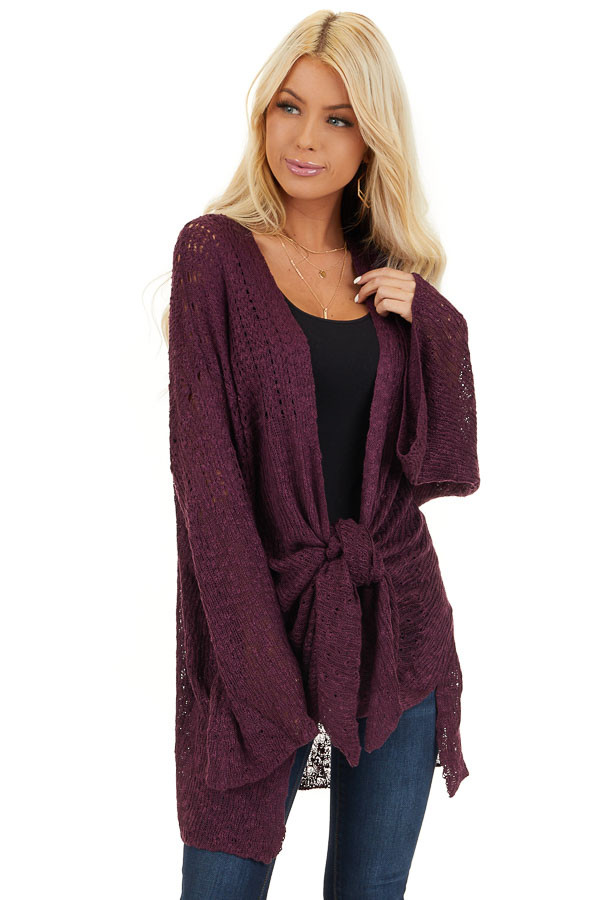 Plum Knit Open Front Cardigan with Long Flare Sleeves front close up