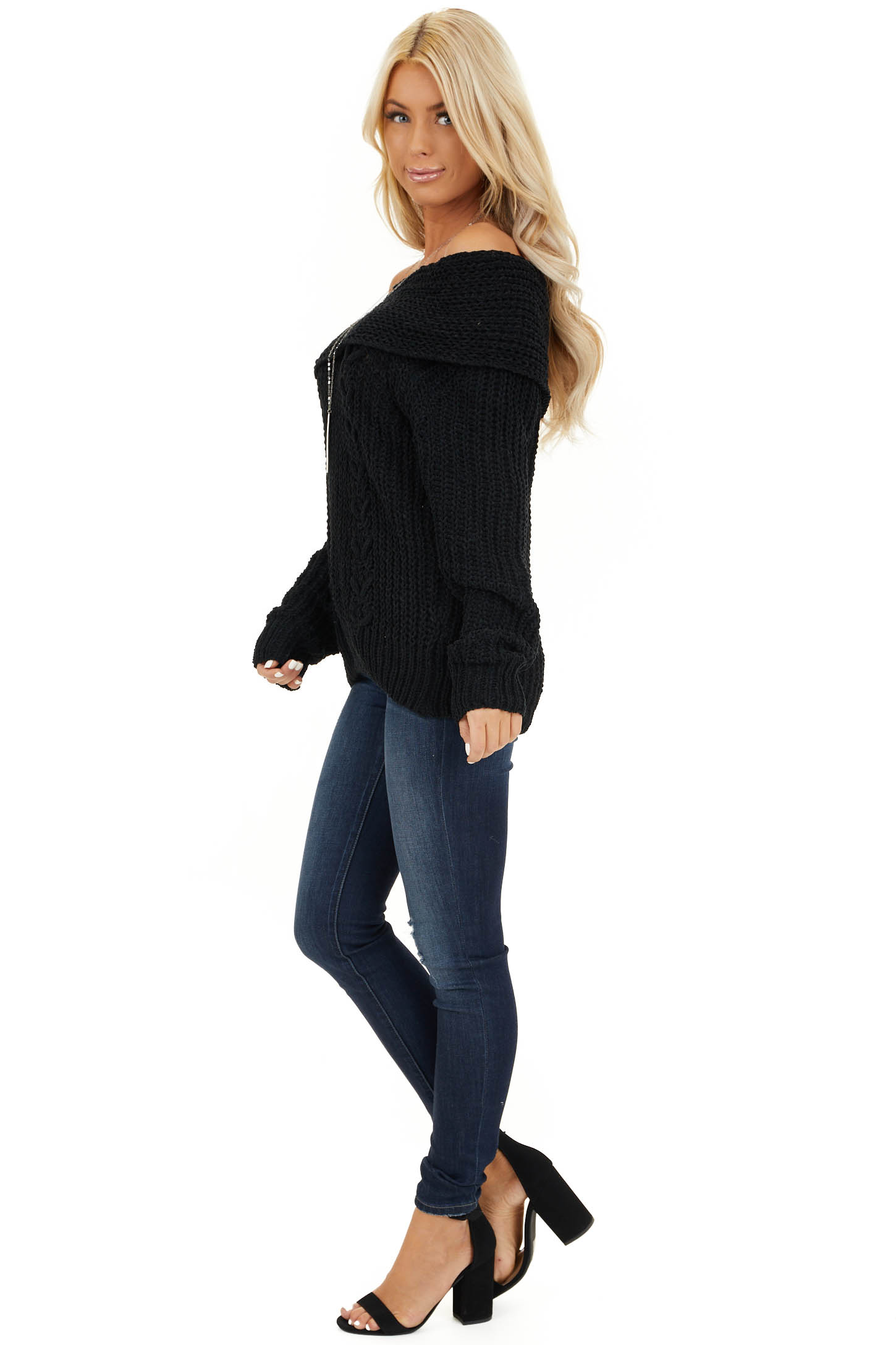 Black Off Shoulder Chenille Sweater with Long Sleeves side full body