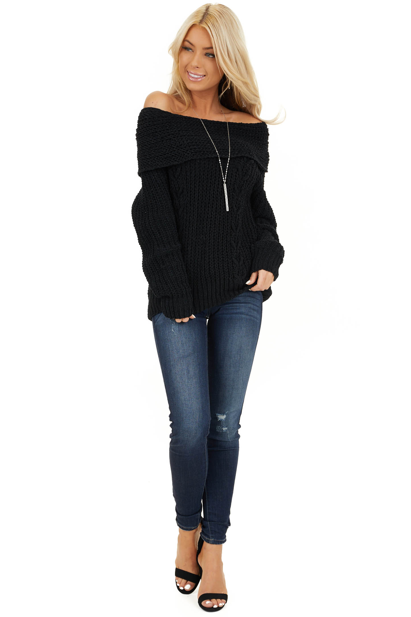 Black Off Shoulder Chenille Sweater with Long Sleeves front full body