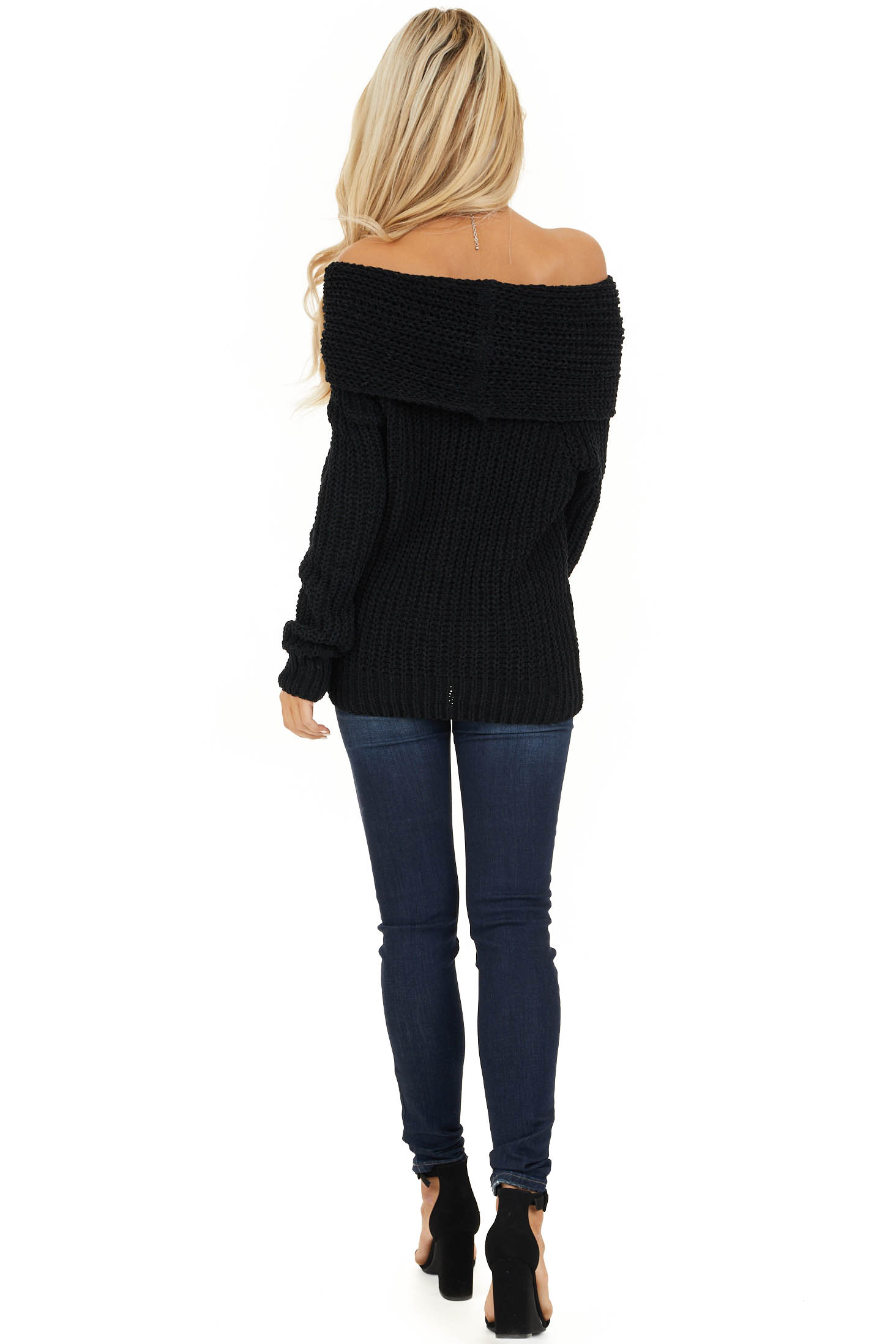 Black Off Shoulder Chenille Sweater with Long Sleeves back full body