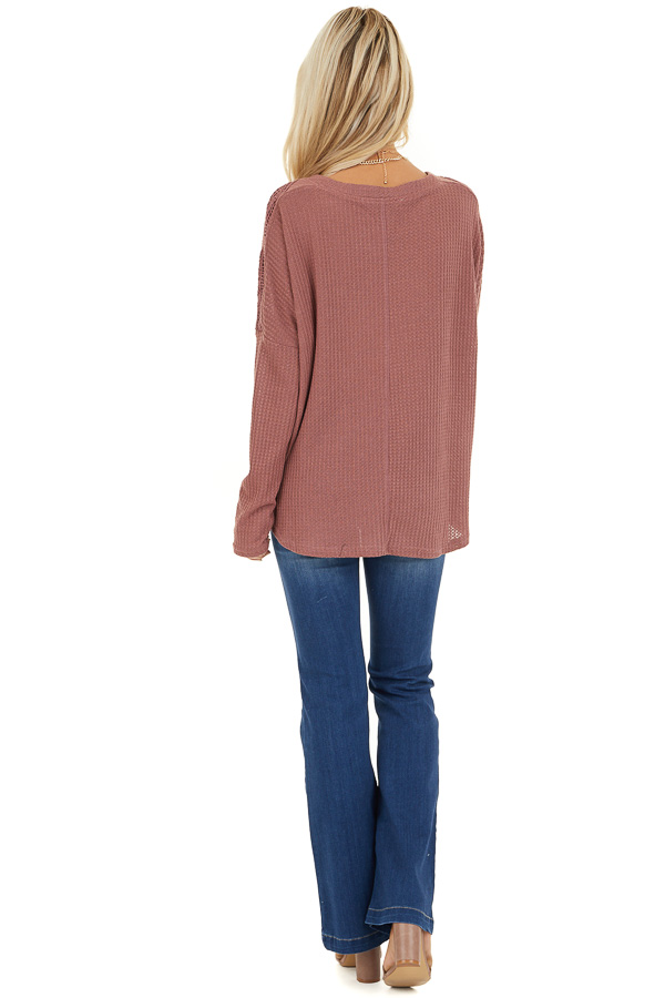 Marsala Waffle Knit Long Sleeve Top with Lace Details back full body