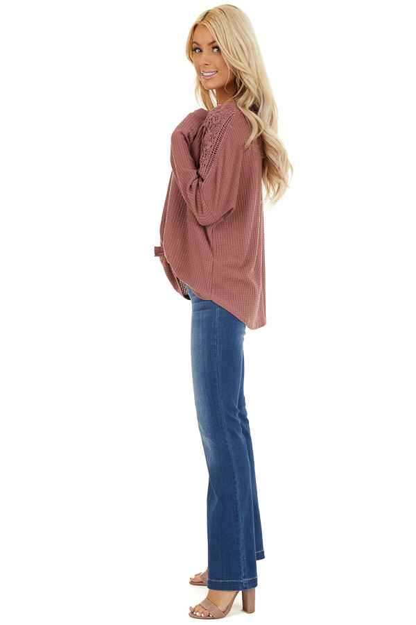Marsala Waffle Knit Long Sleeve Top with Lace Details side full body
