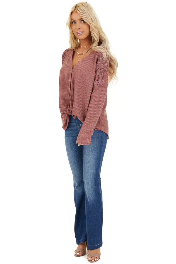 Marsala Waffle Knit Long Sleeve Top with Lace Details front full body