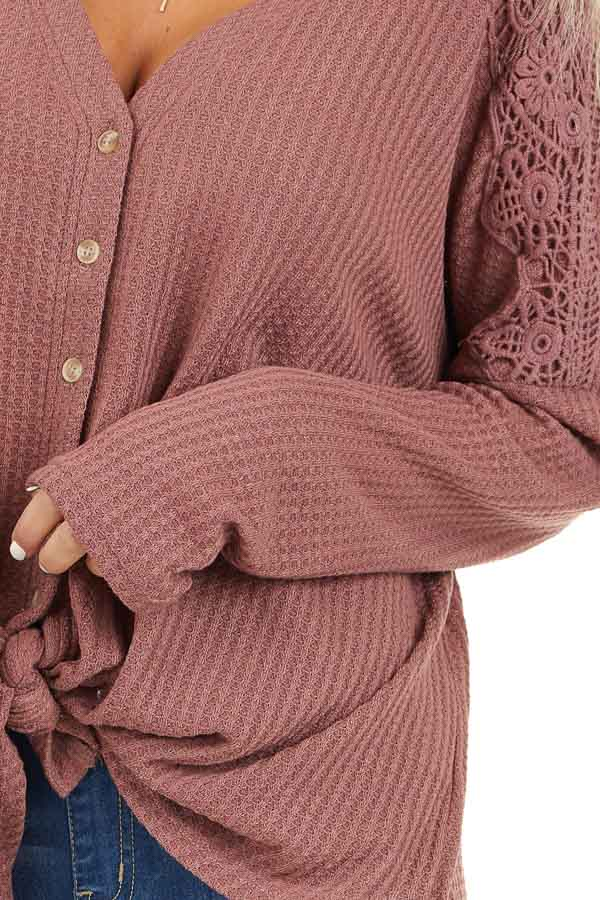 Marsala Waffle Knit Long Sleeve Top with Lace Details detail