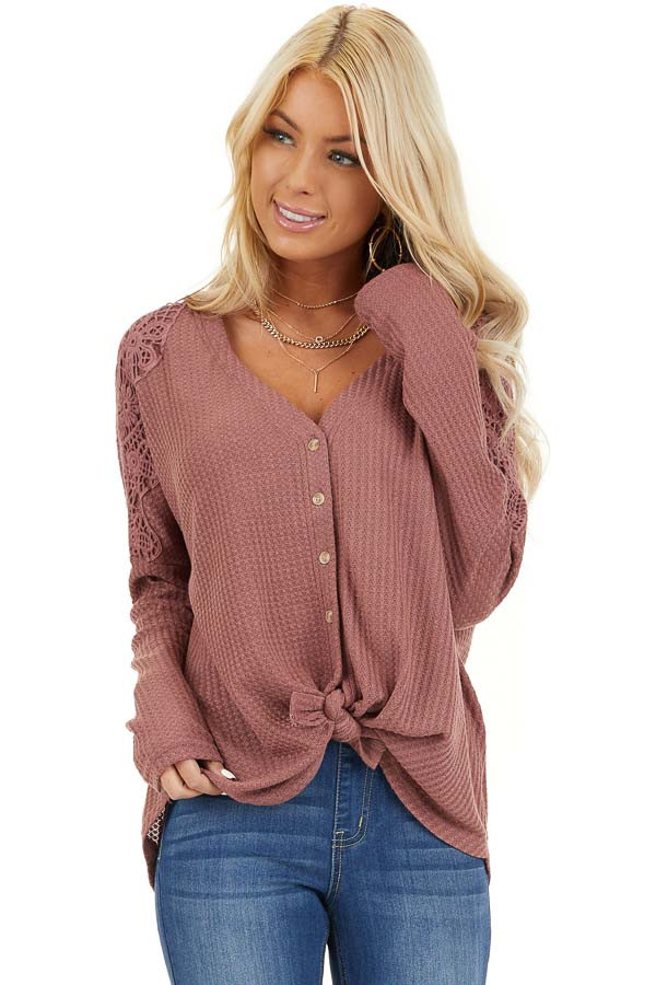 Marsala Waffle Knit Long Sleeve Top with Lace Details front close up