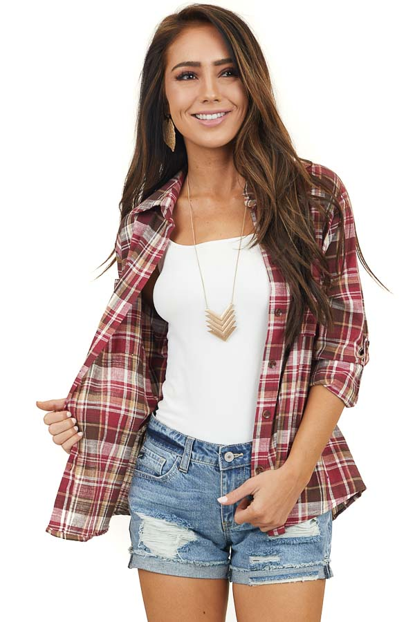 Ruby Red and Beige Plaid Button Up Top with Long Sleeves