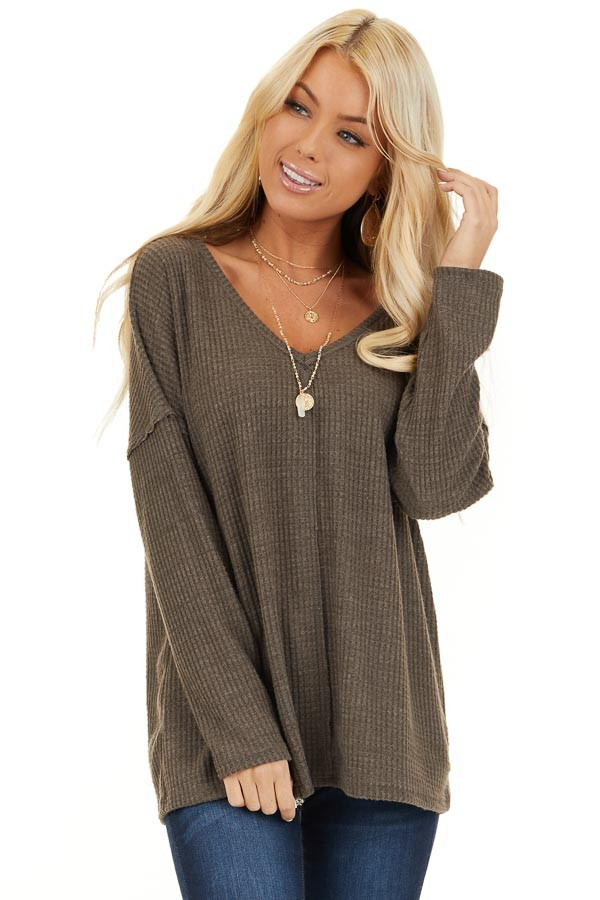 Coffee Long Sleeve Waffle Knit Top with V Neckline front close up