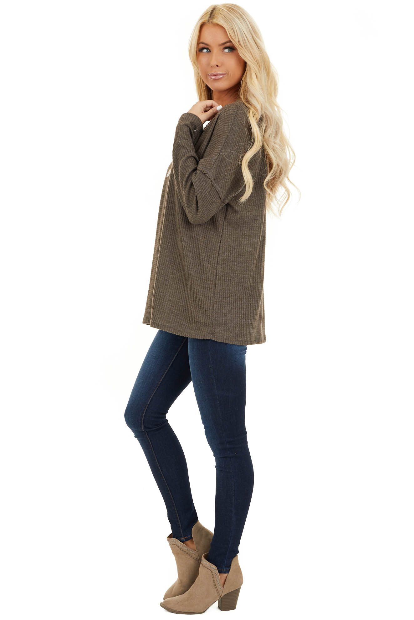 Coffee Long Sleeve Waffle Knit Top with V Neckline side full body