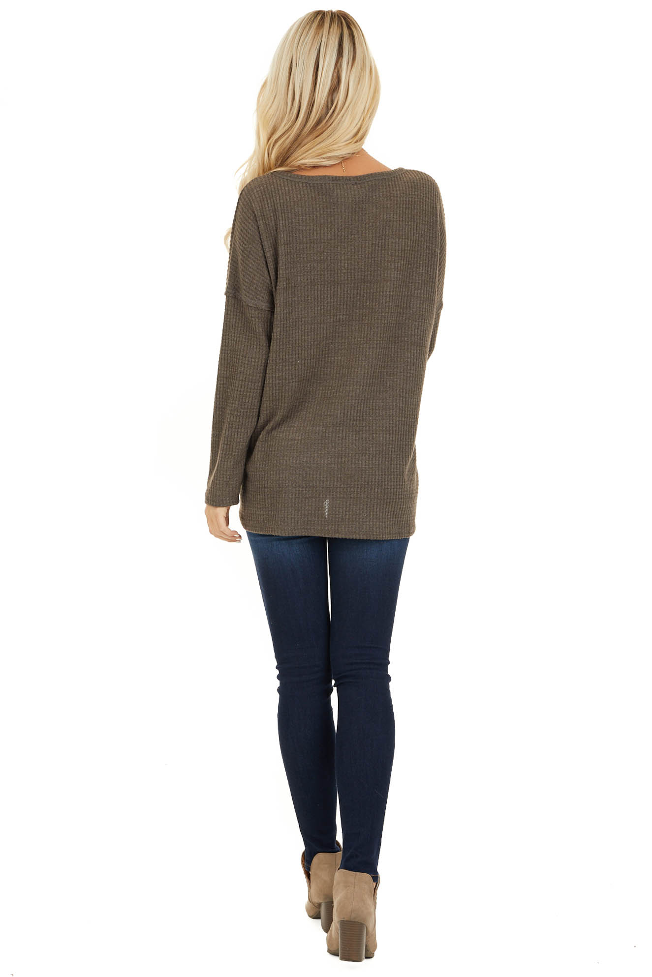 Coffee Long Sleeve Waffle Knit Top with V Neckline back full body