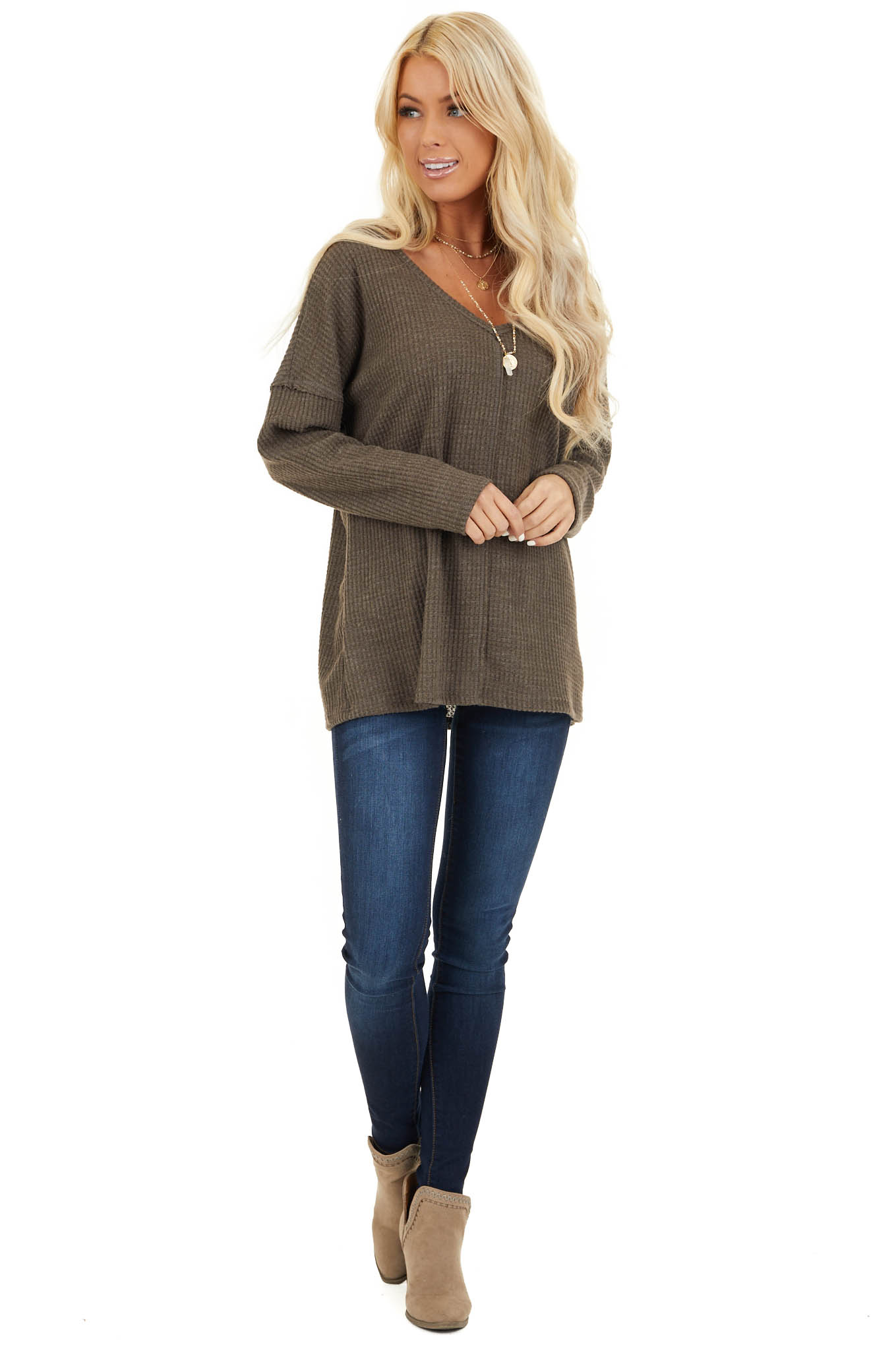 Coffee Long Sleeve Waffle Knit Top with V Neckline front full body