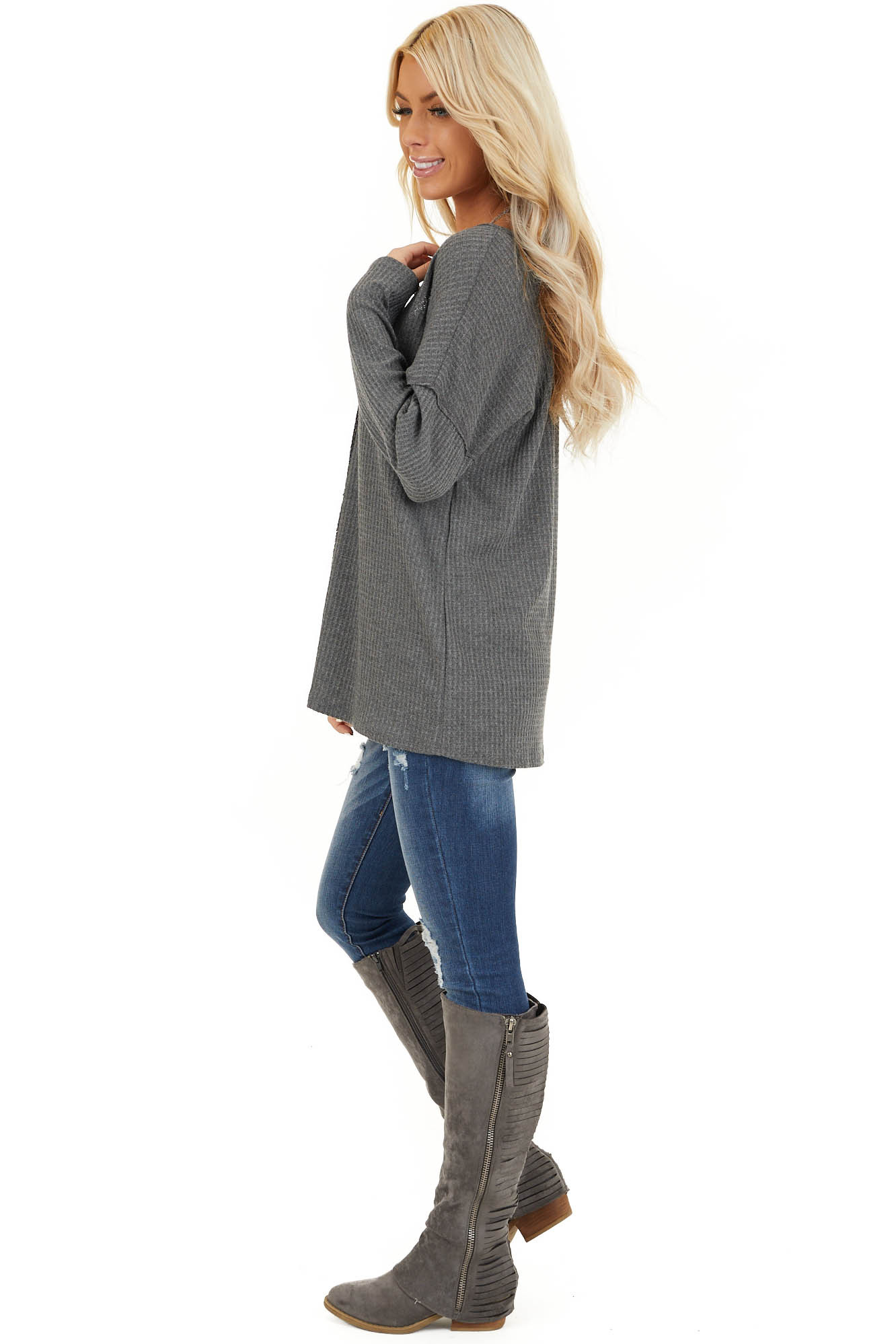 Charcoal Long Sleeve Waffle Knit Top with V Neckline side full body
