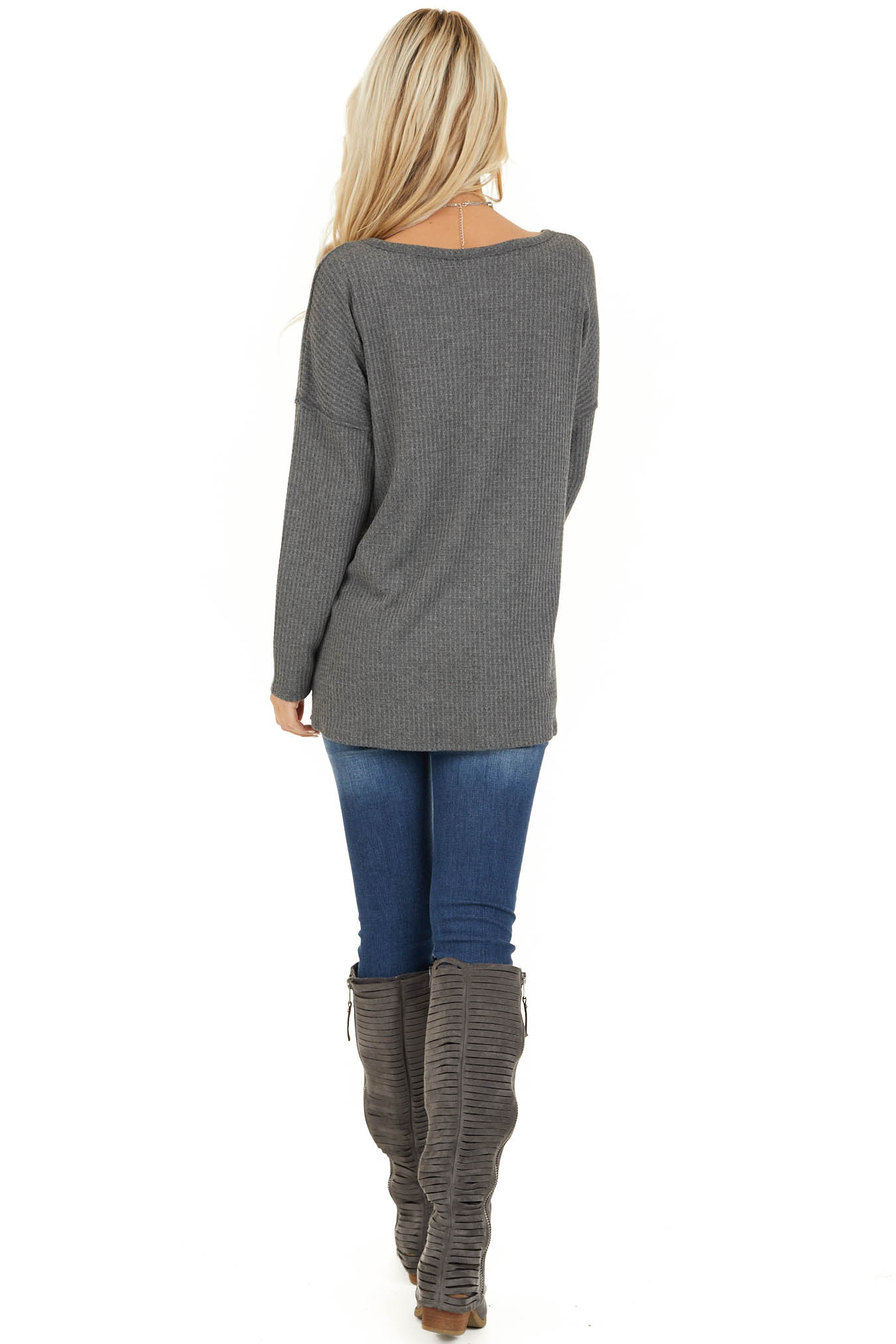 Charcoal Long Sleeve Waffle Knit Top with V Neckline back full body