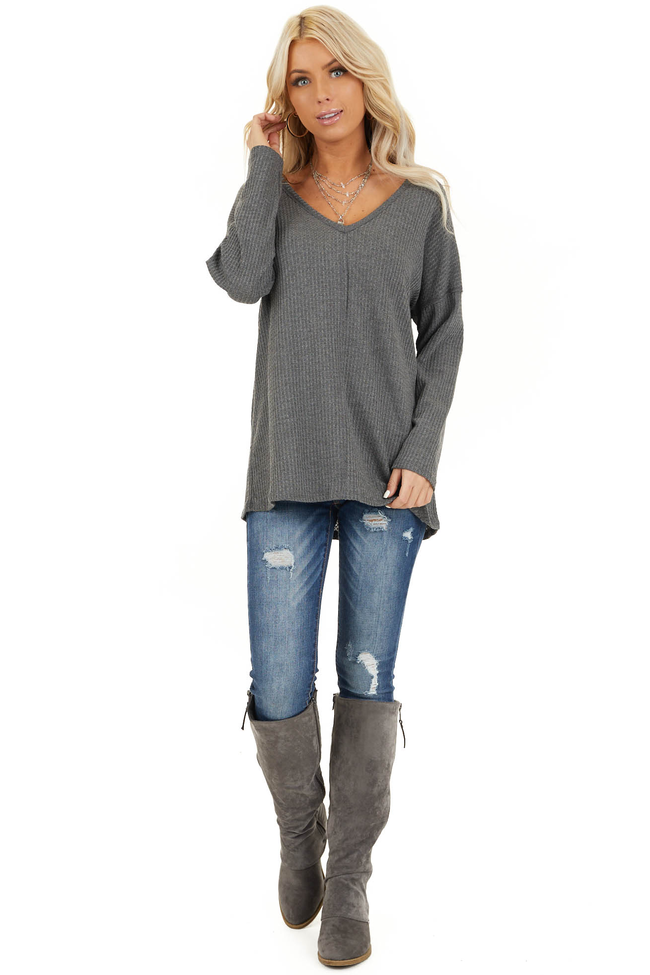 Charcoal Long Sleeve Waffle Knit Top with V Neckline front full body