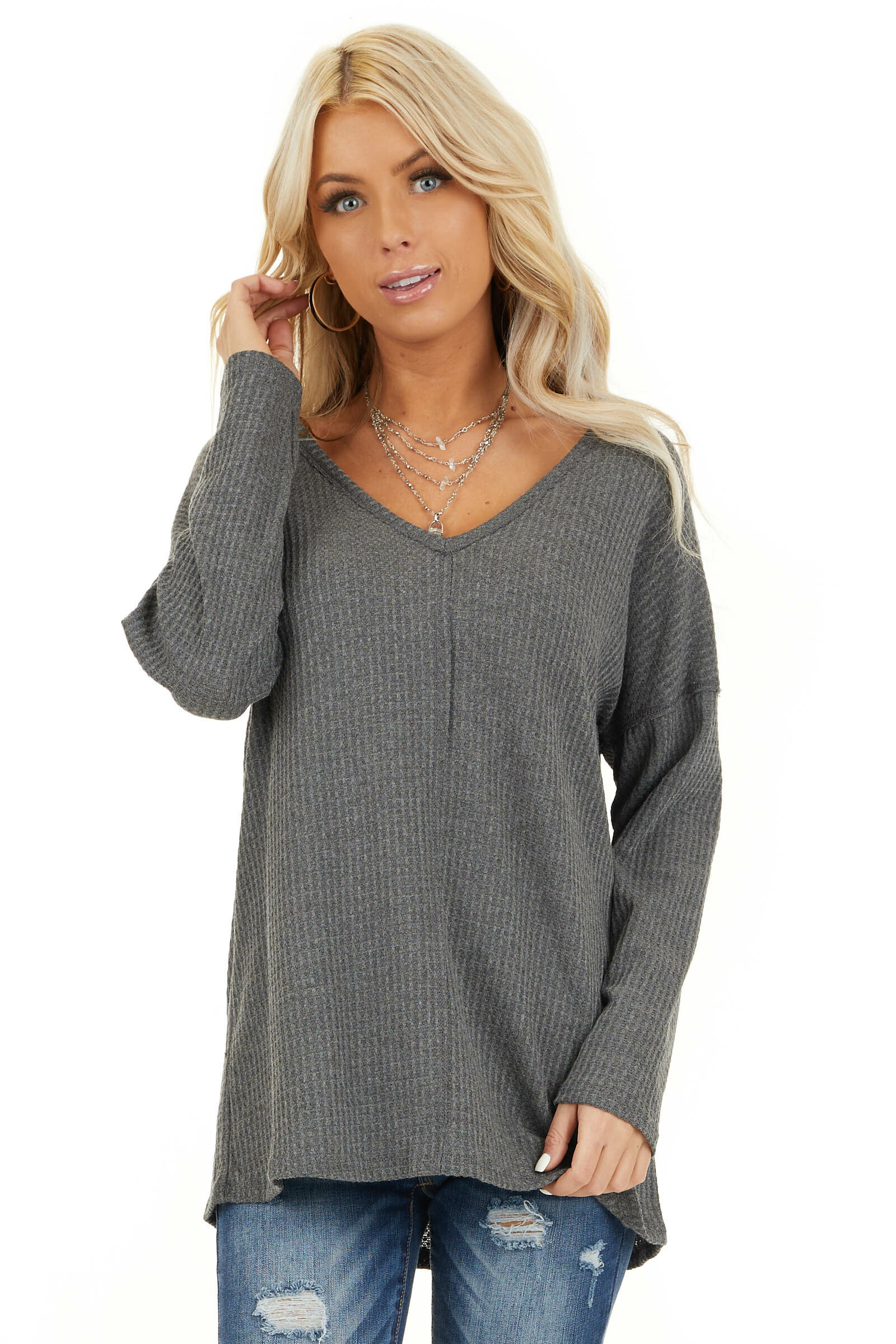 Charcoal Long Sleeve Waffle Knit Top with V Neckline front close up