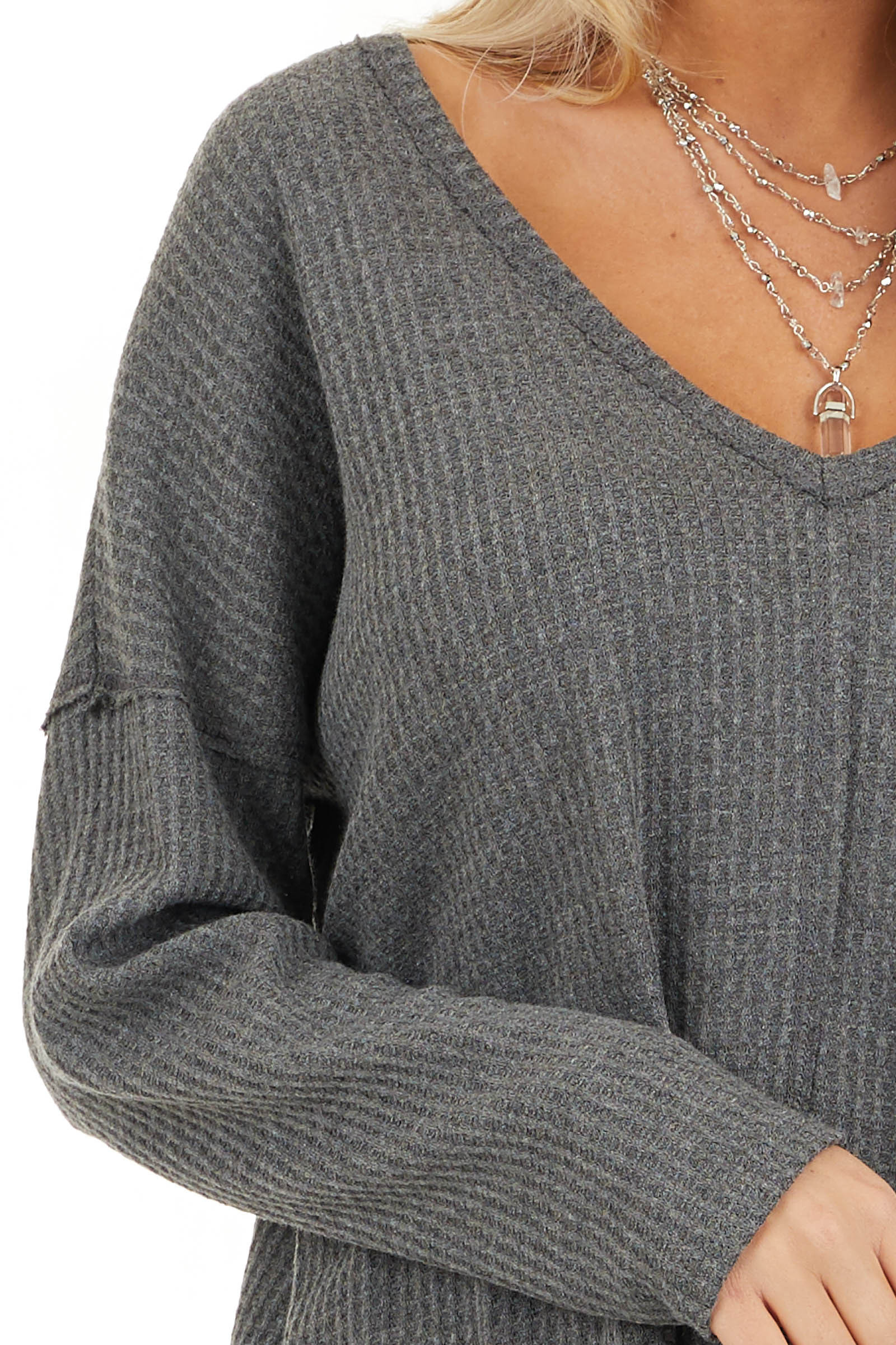 Charcoal Long Sleeve Waffle Knit Top with V Neckline detail
