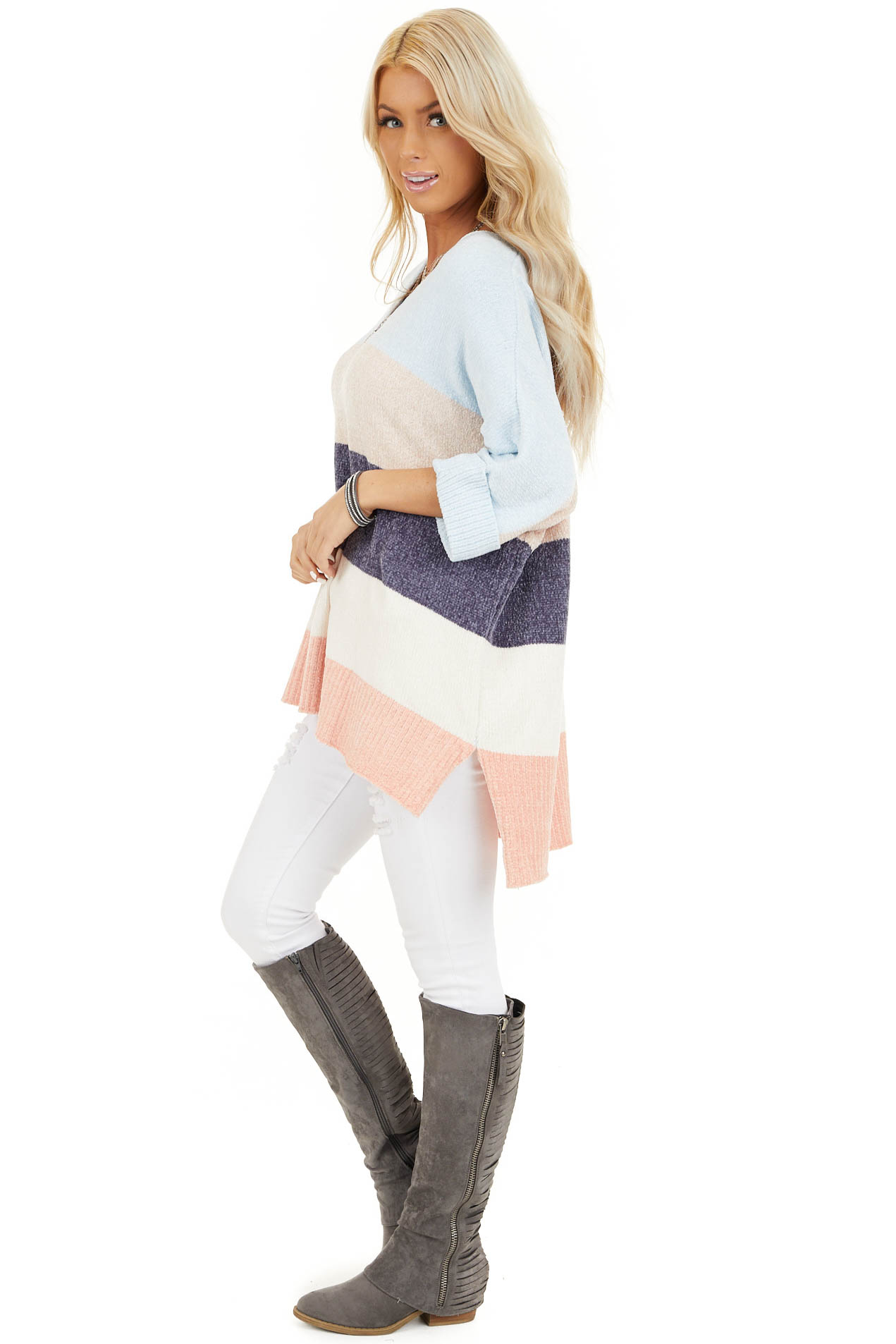 Slate and Baby Blue Color Block Sweater with Dolman Sleeves side full body