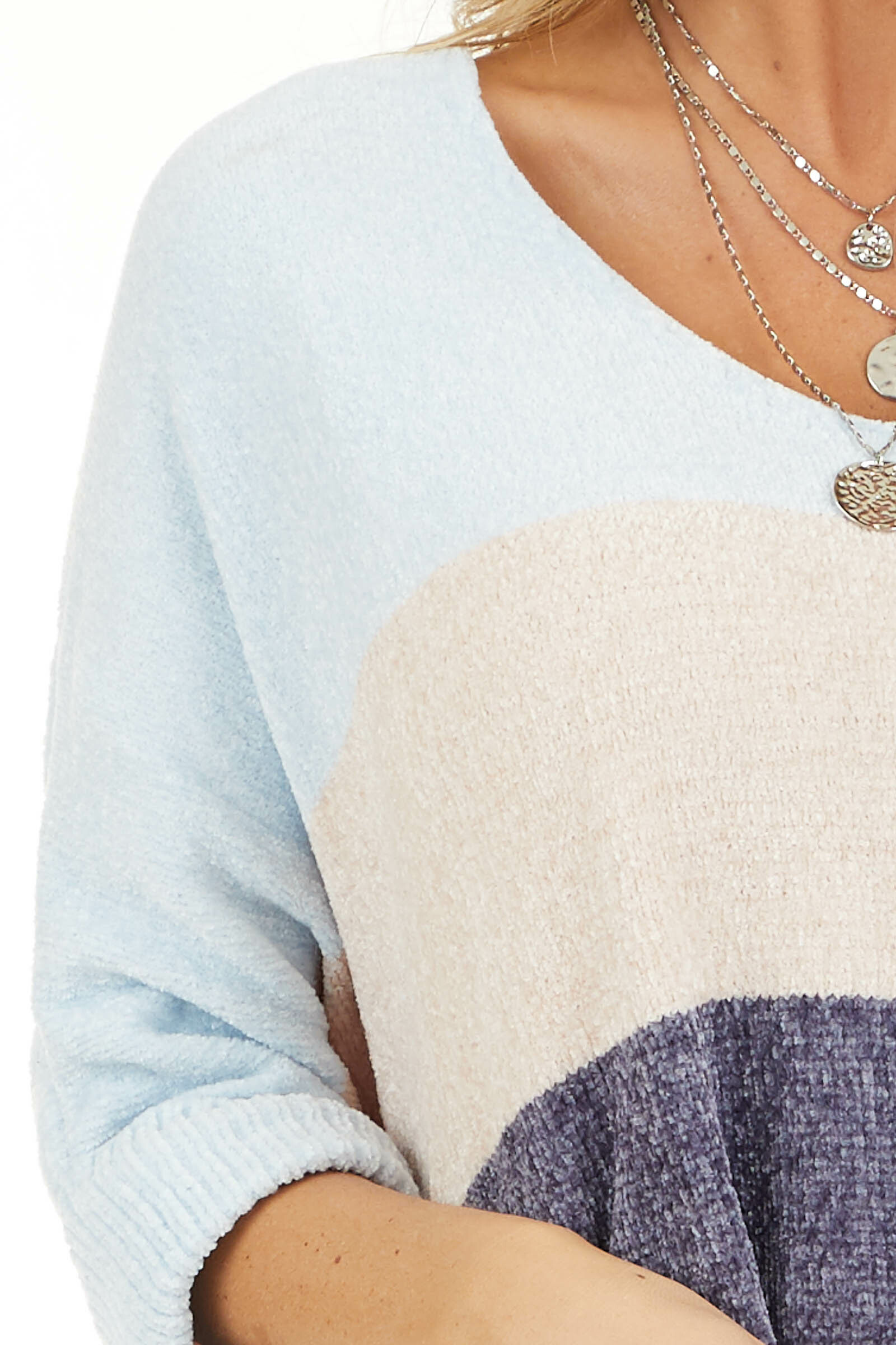 Slate and Baby Blue Color Block Sweater with Dolman Sleeves detail