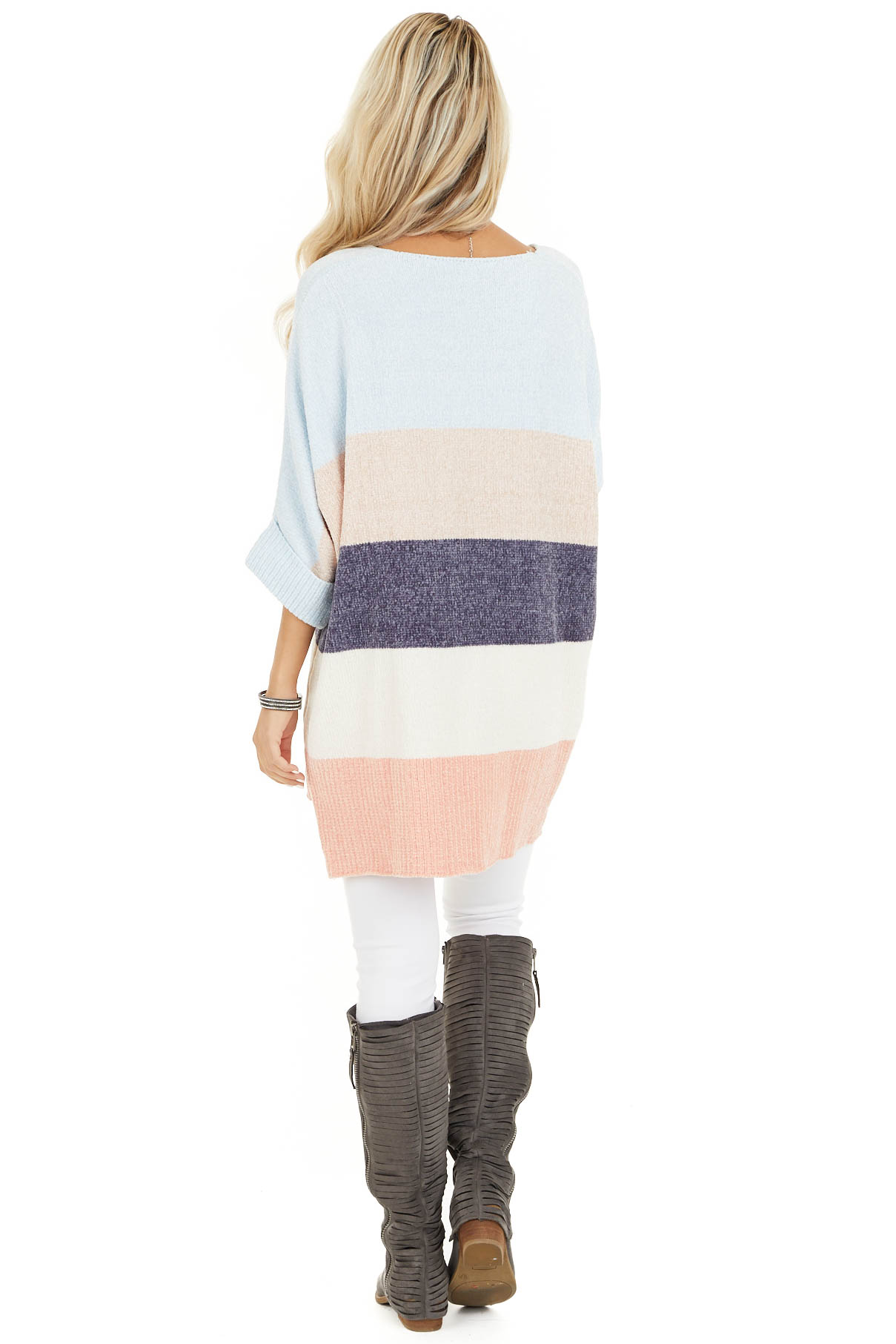 Slate and Baby Blue Color Block Sweater with Dolman Sleeves back full body