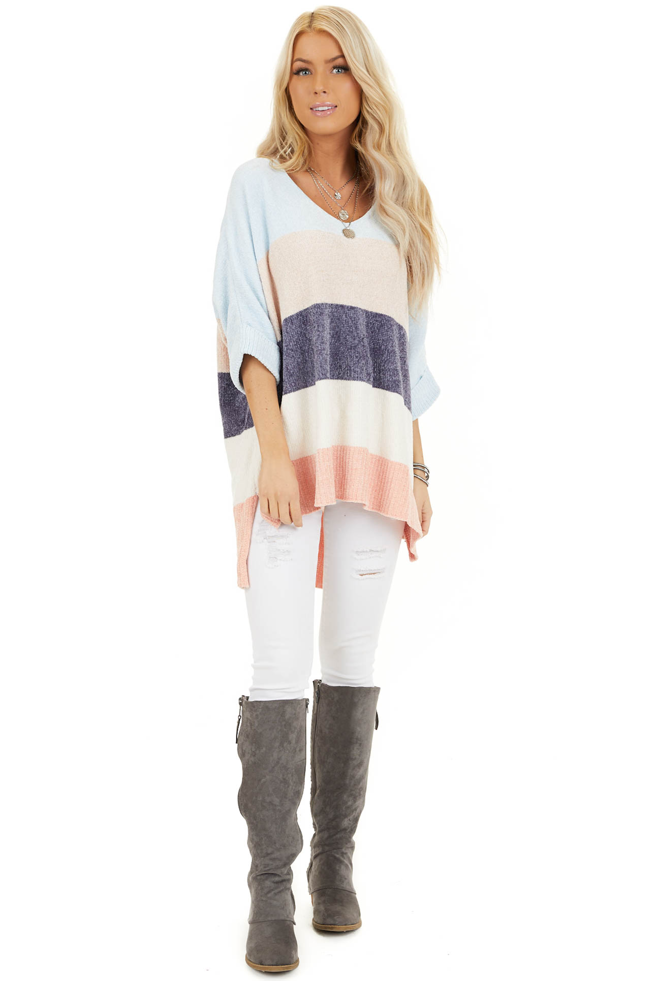 Slate and Baby Blue Color Block Sweater with Dolman Sleeves front full body