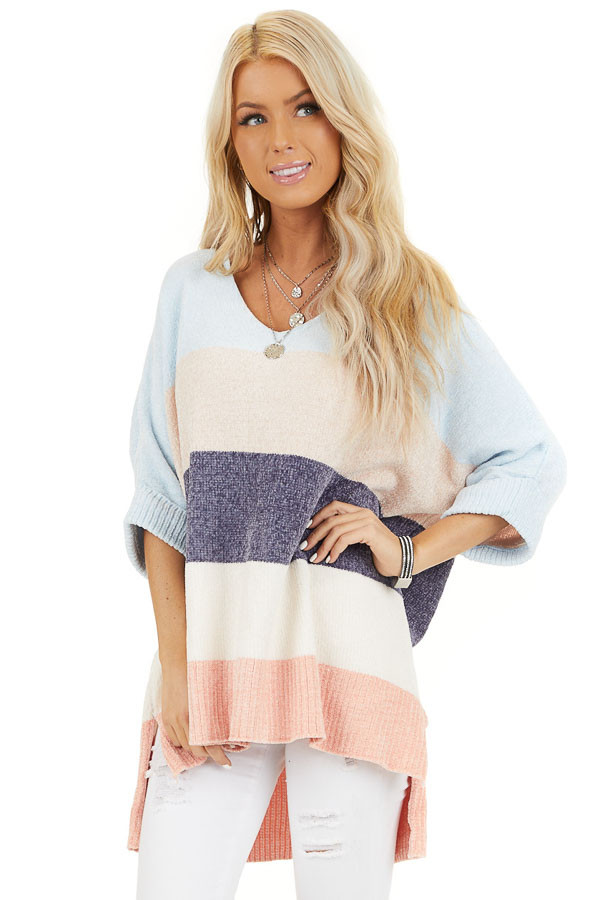 Slate and Baby Blue Color Block Sweater with Dolman Sleeves front close up
